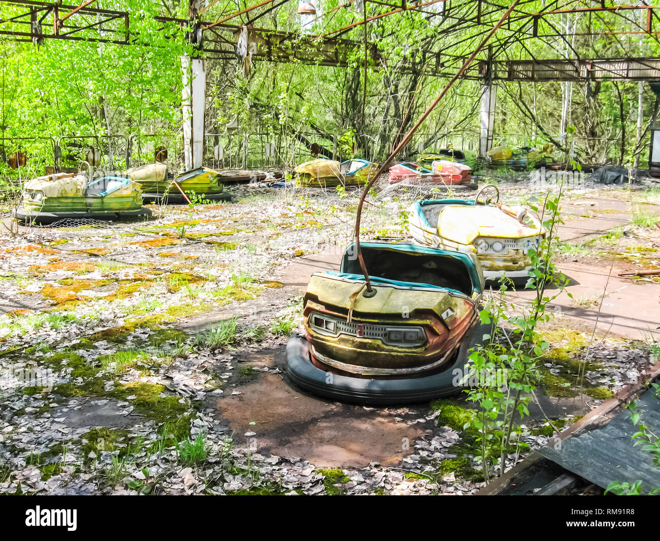 Pripyat An Abandoned Playground With Cars Pripyat An Abandoned Playground With Cars Stock Photo Alamy