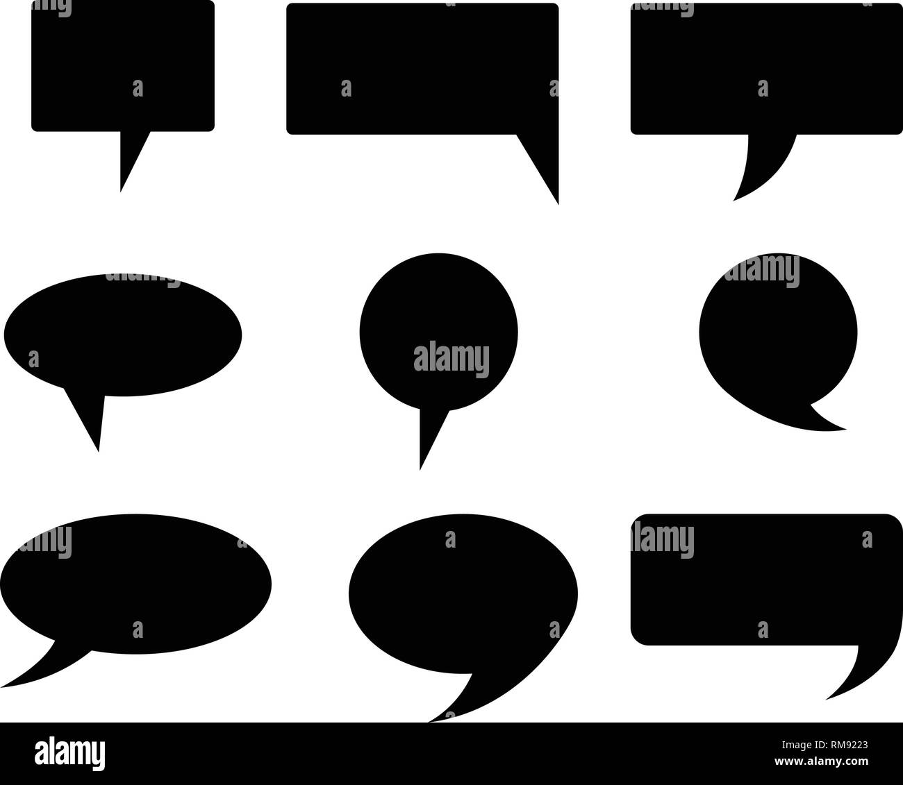 Black color collection shapes of bubbles. Black bubble word vector - Stock Vector