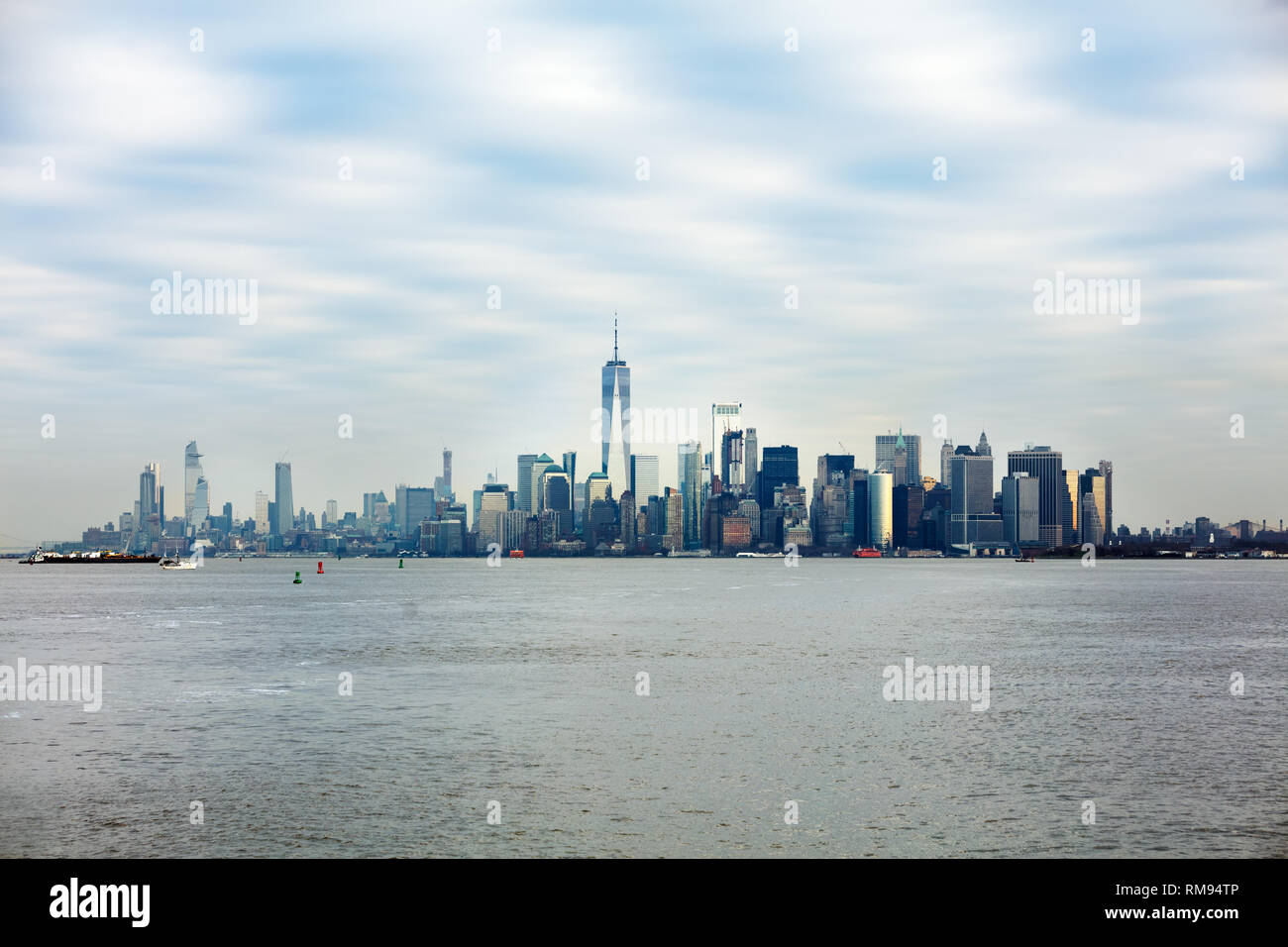 Manhattan Downtown With World Trade Center Over Hudson River - Stock Image