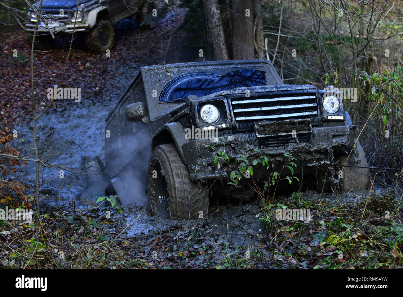 Dirty offroad car rides with obstacles in forest area. - Stock Image