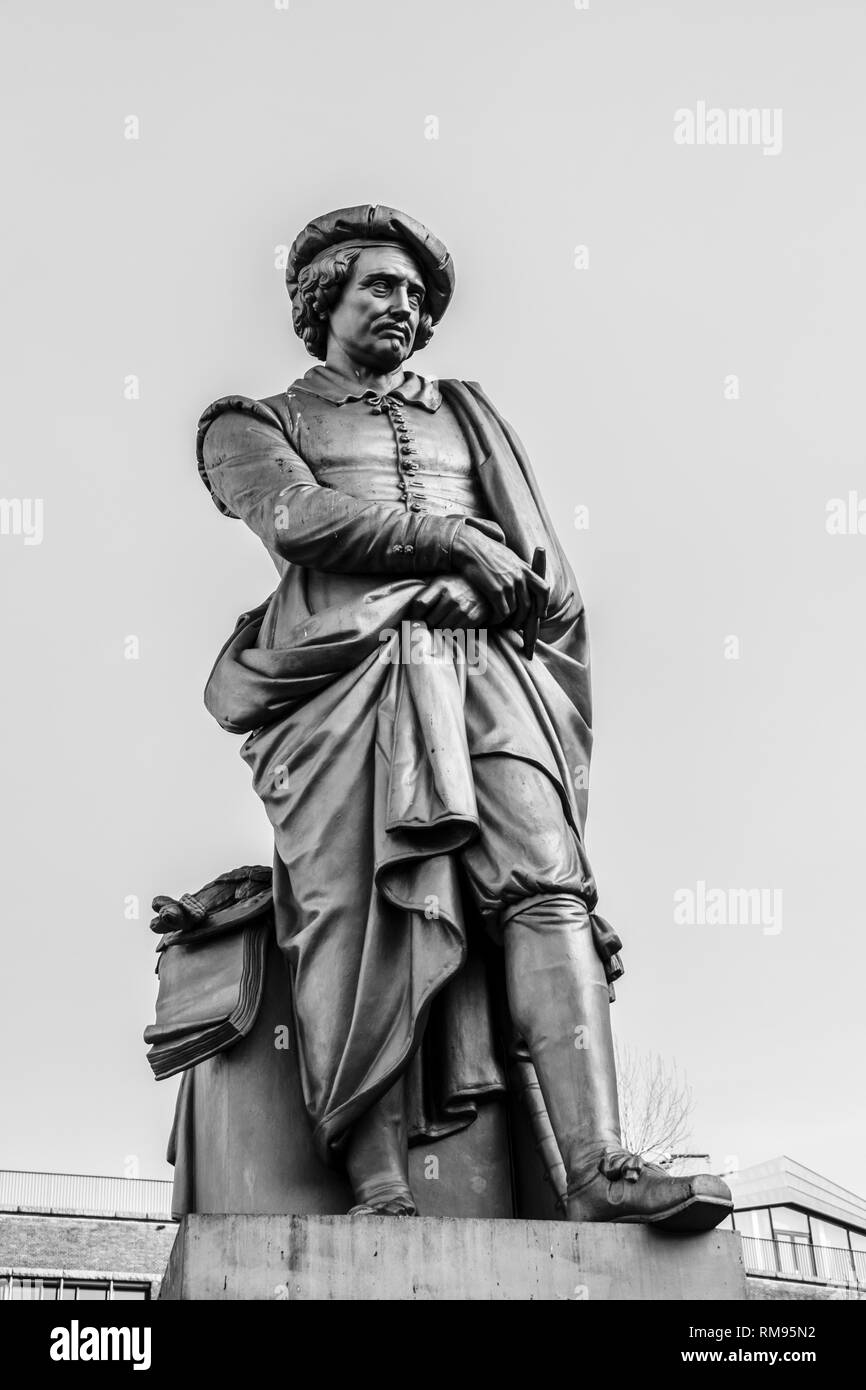 Rembrandt Statue At Amsterdam The Netherlands In Black And White 2019 - Stock Image
