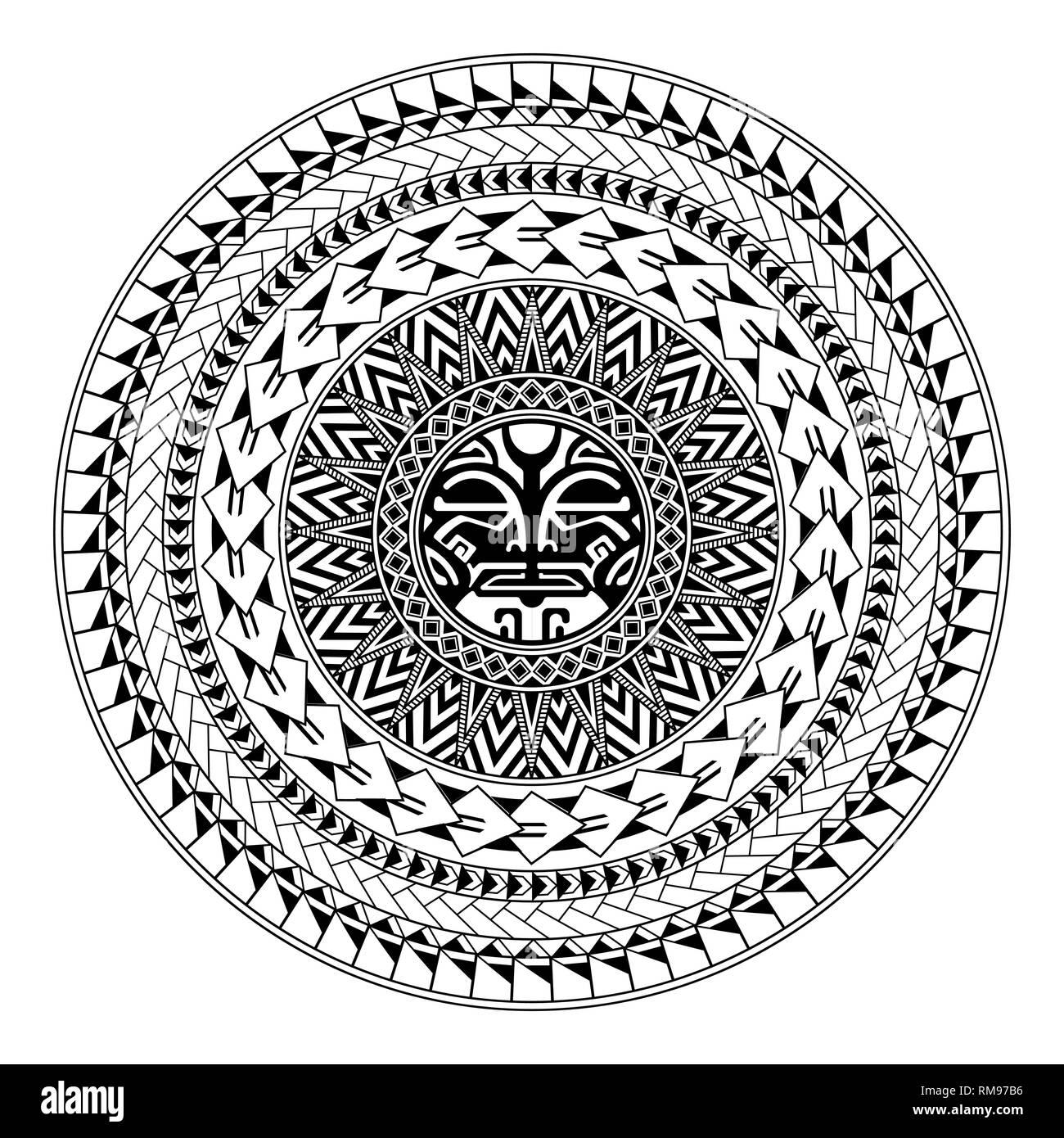 Polynesian circular ornament. Polynesian tattoo. Maori style. Abstract face - Stock Vector