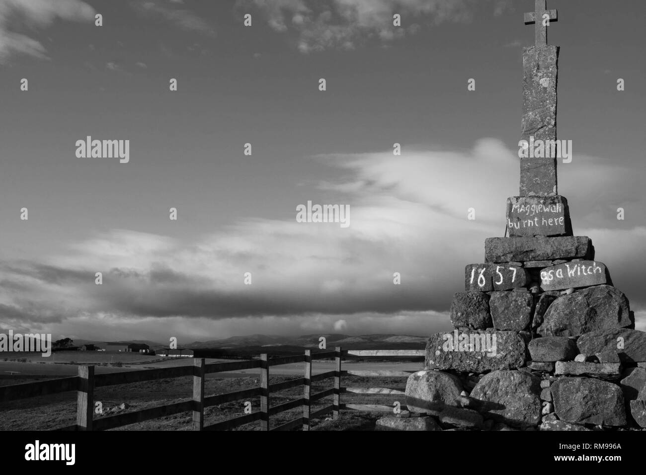 Maggie Wall memorial , Dunning, Perthshire, Scotland. Stock Photo