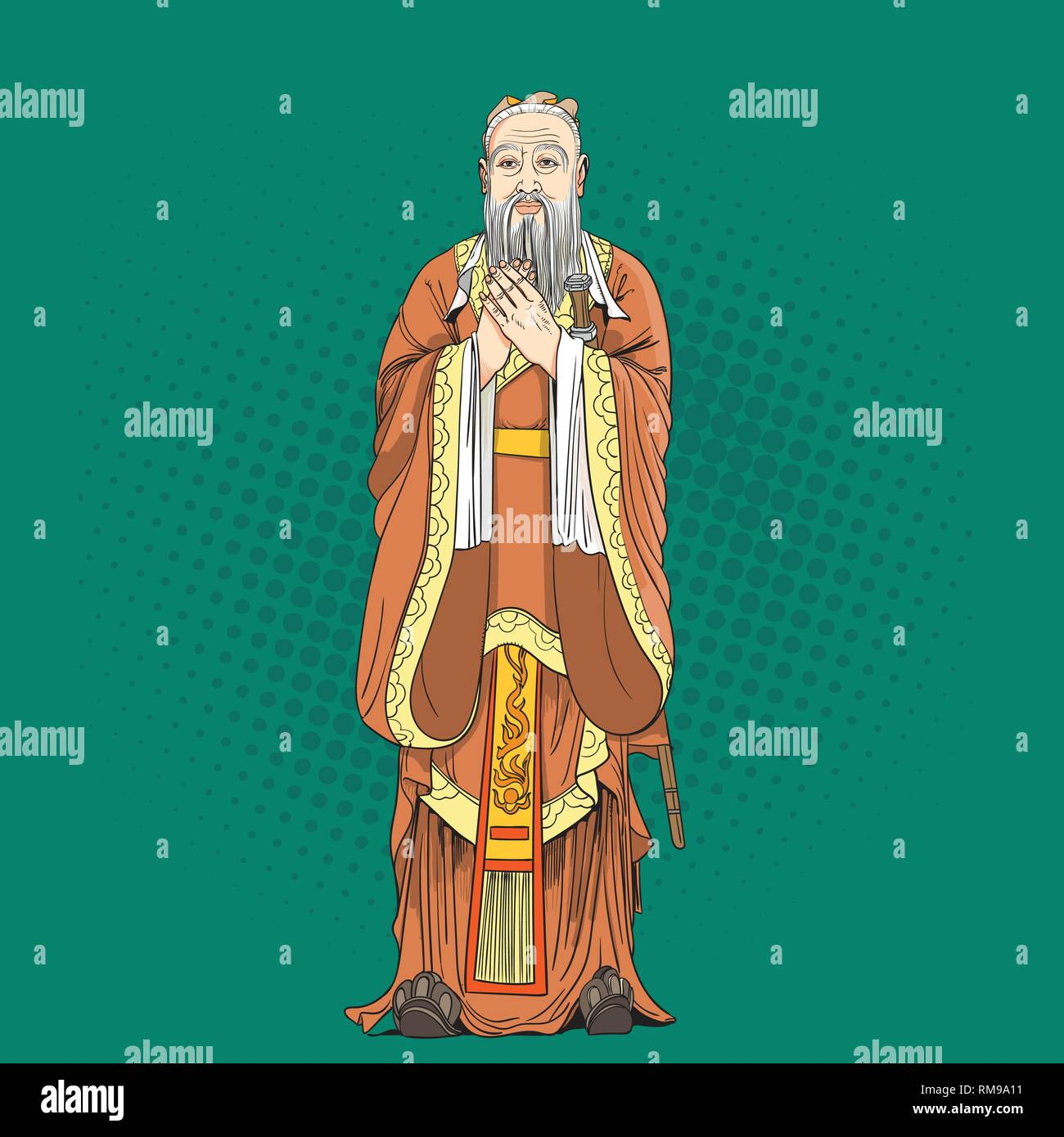 Confucius portrait in line art illustration. He was Chinese philosopher, scholar and teacher of the Spring and Autumn period of Chinese history. - Stock Vector