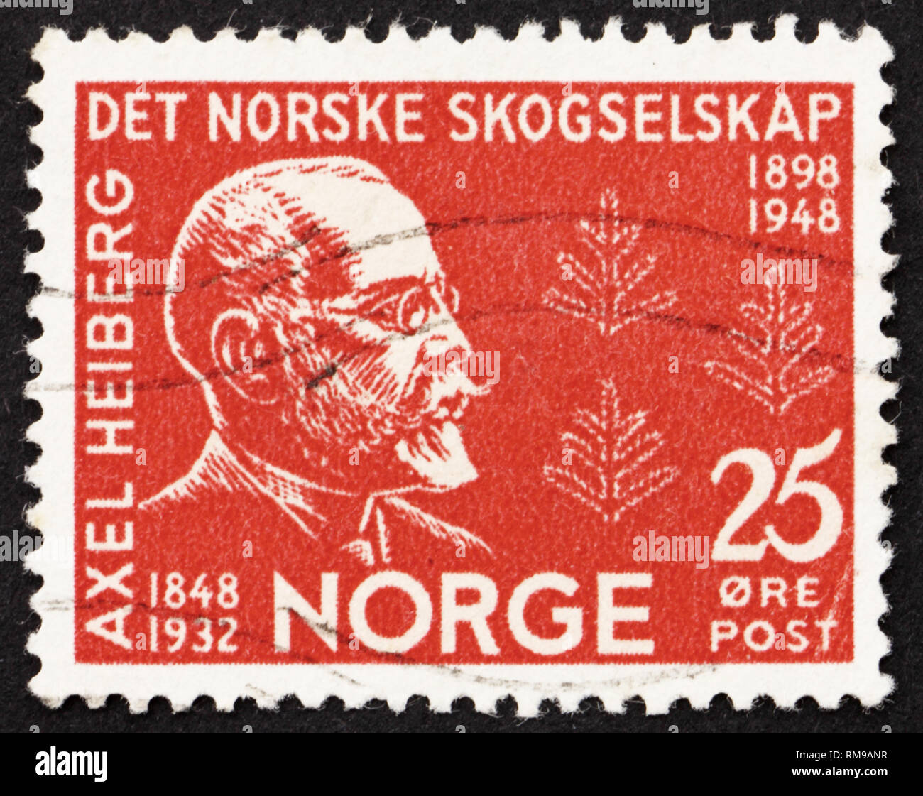 NORWAY - CIRCA 1948: a stamp printed in the Norway shows Axel Heiberg, Norwegian Diplomat, Financier and Patron, circa 1948 - Stock Image