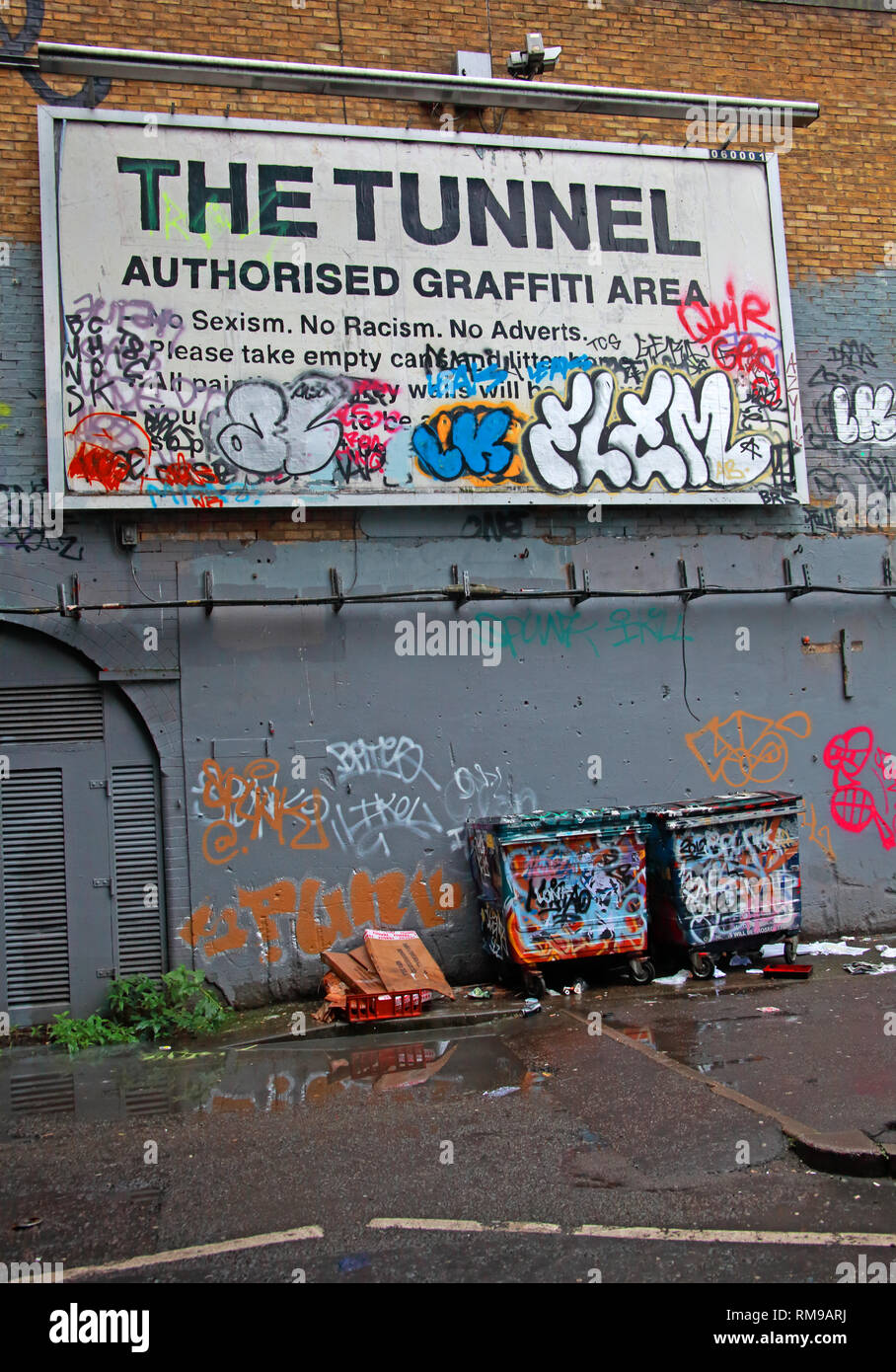 The Tunnel, Authorised Graffiti Area, Leake Street, Waterloo, Lambeth, London, South East England, UK, SE1 7NN - Stock Image