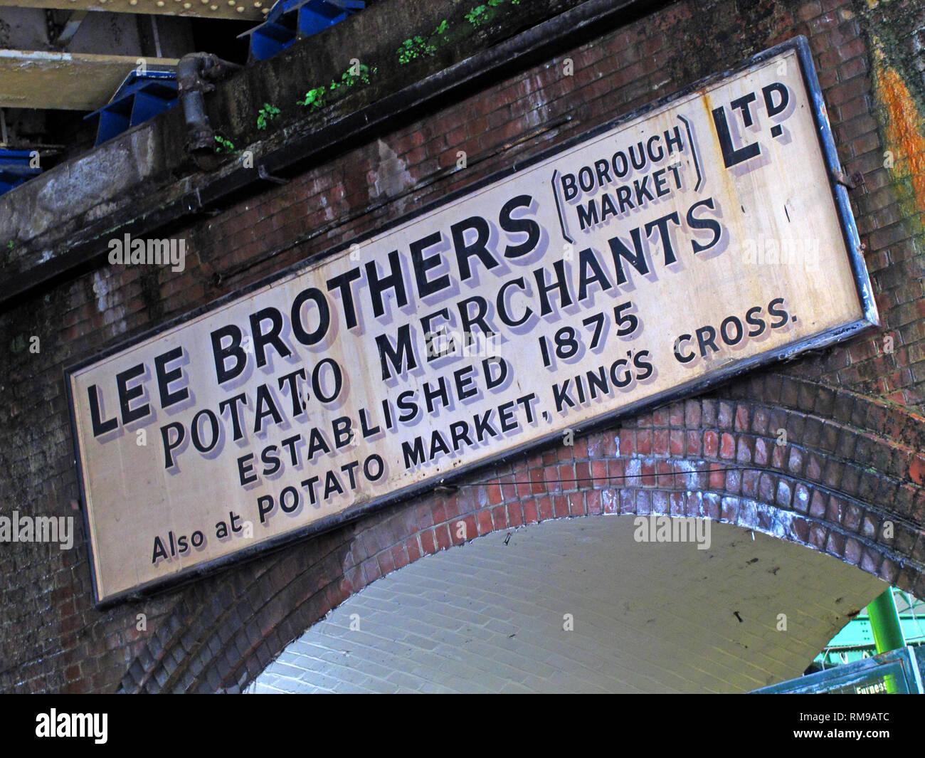 Lee Brothers, Borough Market, Potato Merchants sign (established 1875, Southwark, London, South East England, UK, - Stock Image