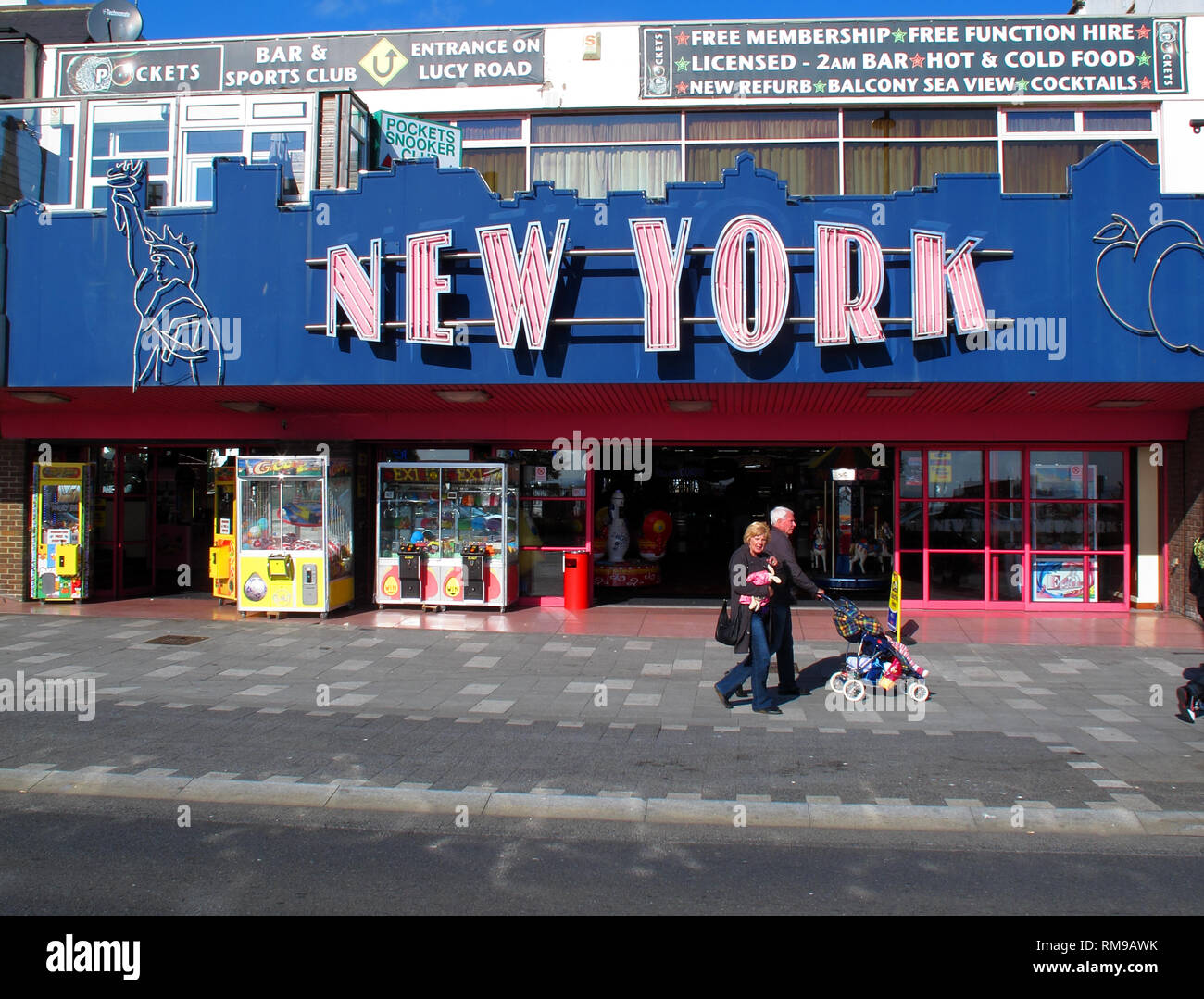 New York arcade, Southend-on-sea beachfront, Essex seaside, South East England, UK - Stock Image