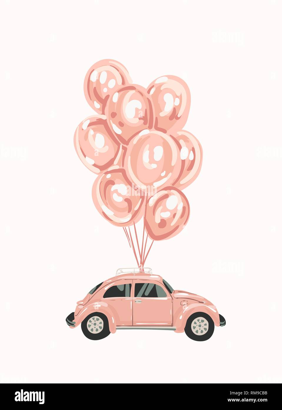 Pink female car with balloons for your design. Retro car. little pink Classic American Vintage Stock Vector