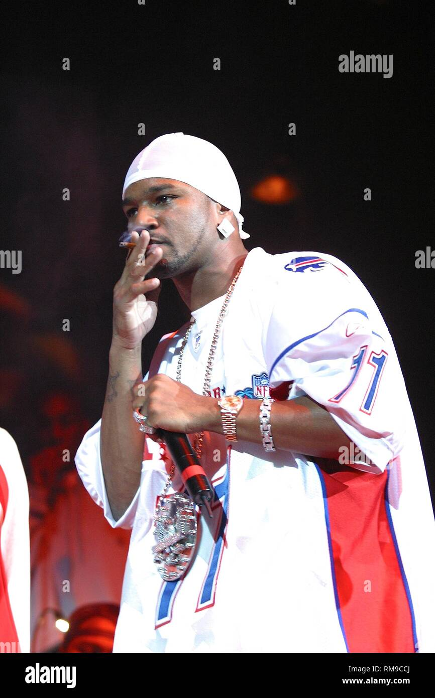 Cameron Giles of Cameron & the Diplomats is shown performing on stage during an 'live' concert appearance. - Stock Image