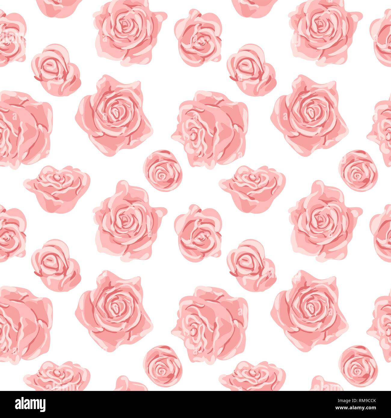 Seamless pattern with pink and white roses. Romantic wallpaper. Hand painted watercolor botanical illustration.