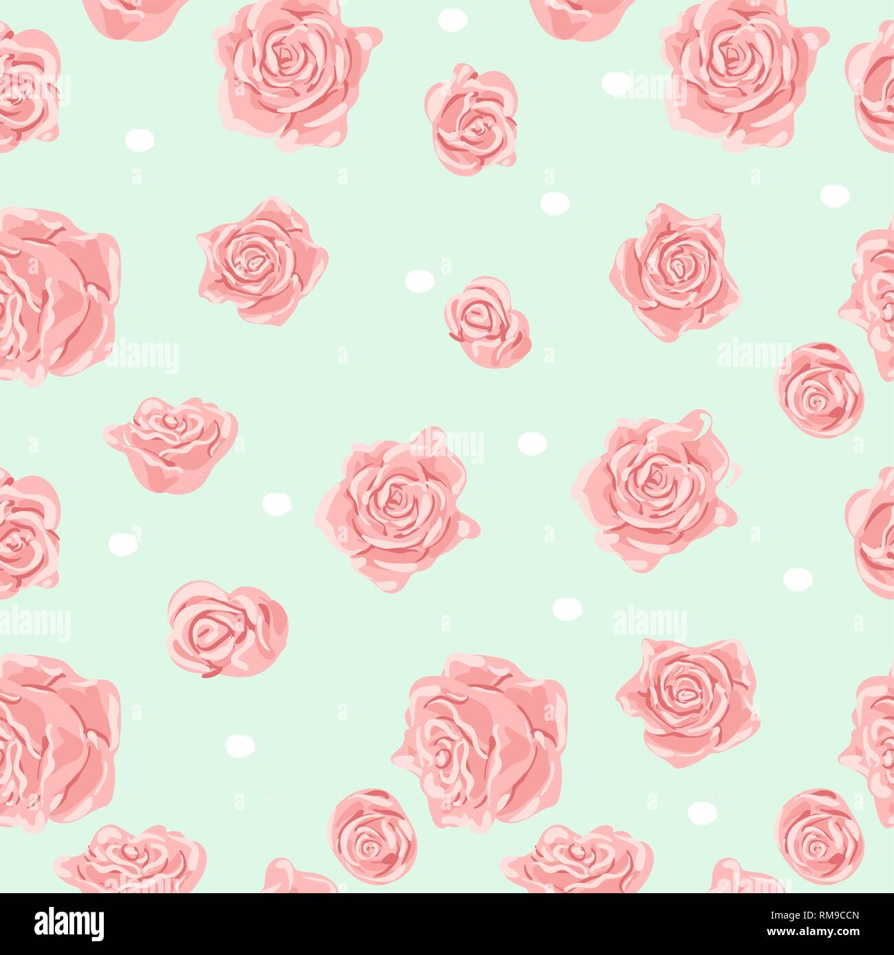 Seamless Pattern With Pink And White Roses Romantic Wallpaper