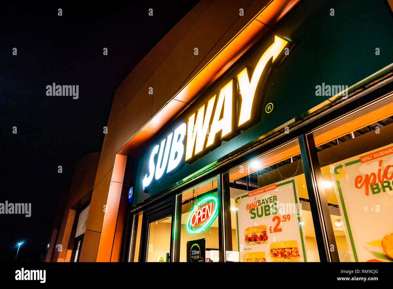 Shop Front Of Subway Open At Night The Illuminate Sign Of