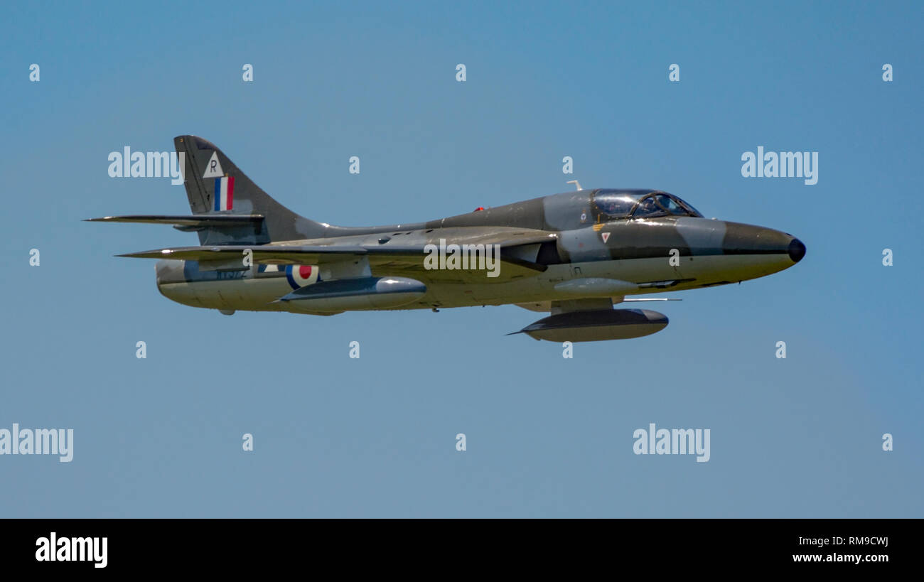 The vintage Hawker Hunter T7 fighter aircraft (WV372) in a high speed pass moments before the tragic air crash at the Shoreham Airshow, UK on 22/8/15. - Stock Image
