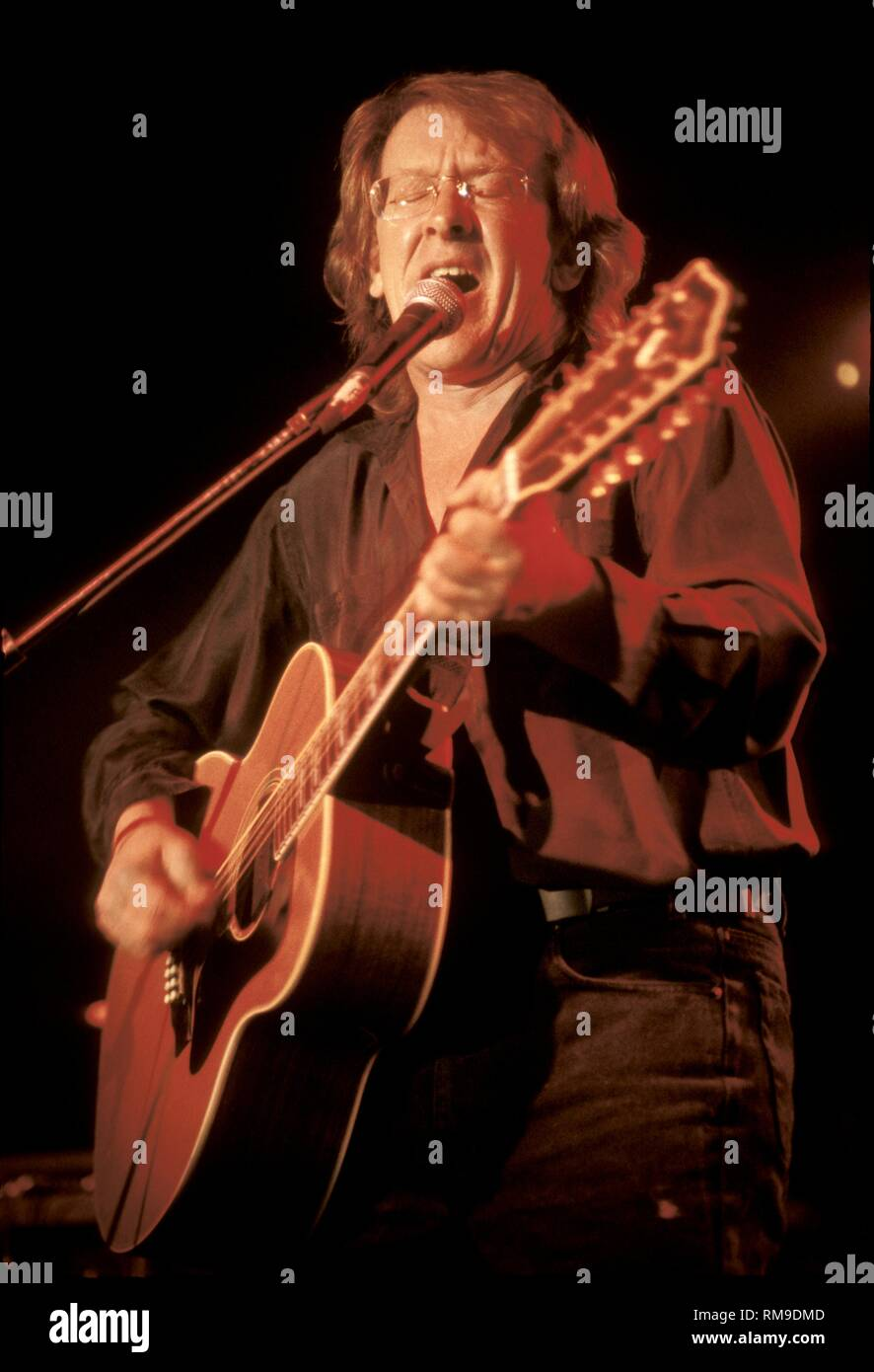 Guitarist singer & songwriter Paul Kantner of the Jefferson Starship is shown performing on stage during a 'live' concert appearance. - Stock Image