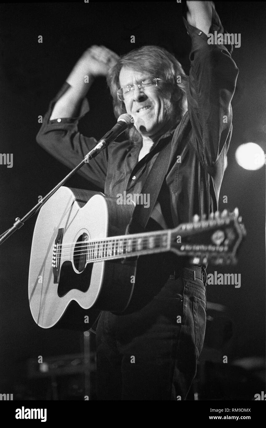 "Guitarist singer & songwriter Paul Kantner of the Jefferson Starship is shown performing on stage during a ""live"" concert appearance. Stock Photo"
