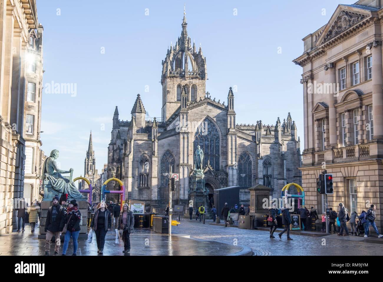 View down the Royal Mile, Edinburgh, Scotland, UK. Stock Photo