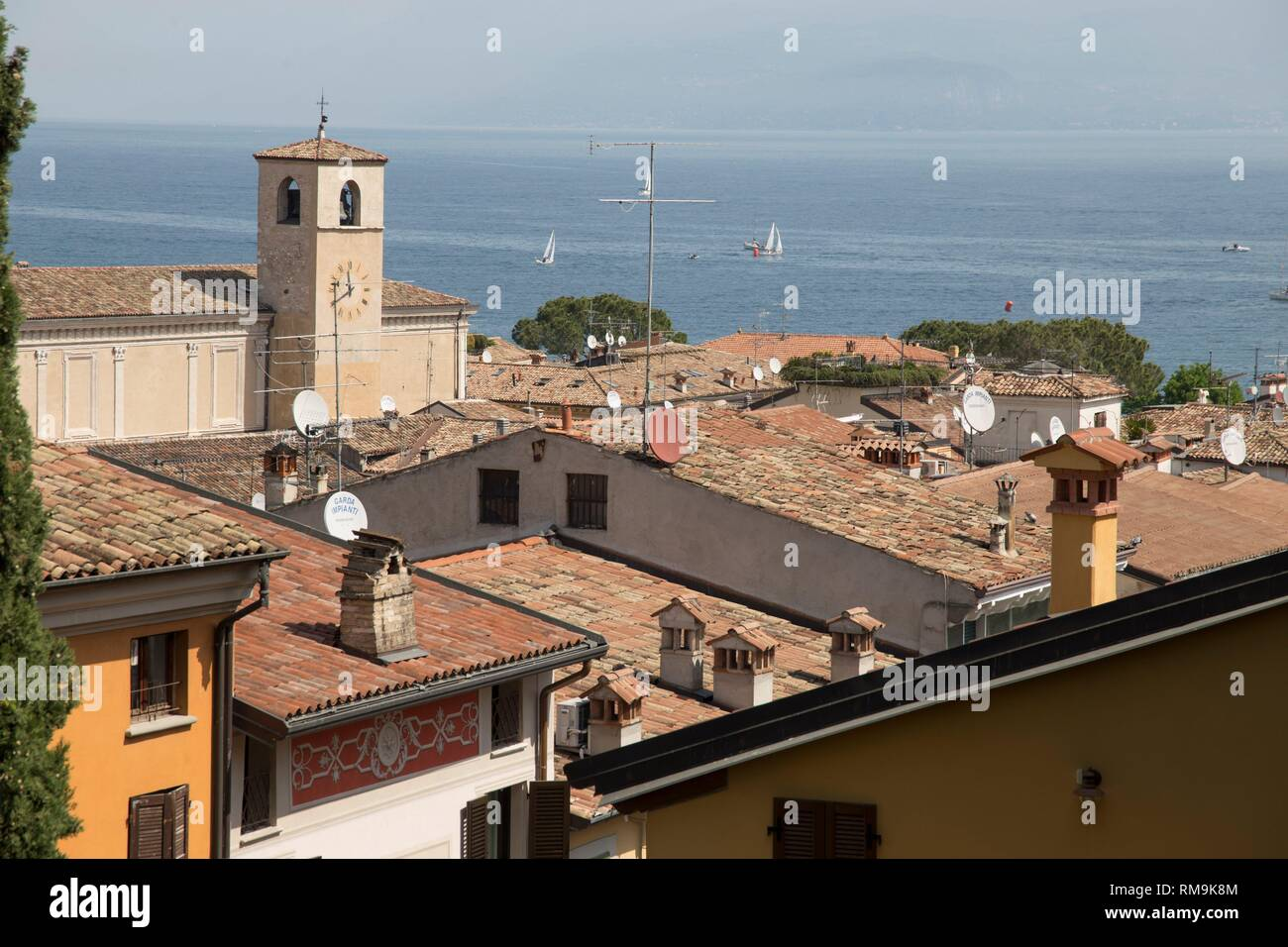 Beautiful aerial views of Desenzano del Garda, a town and comune in the province of Brescia, in Lombardy. Italy. Stock Photo