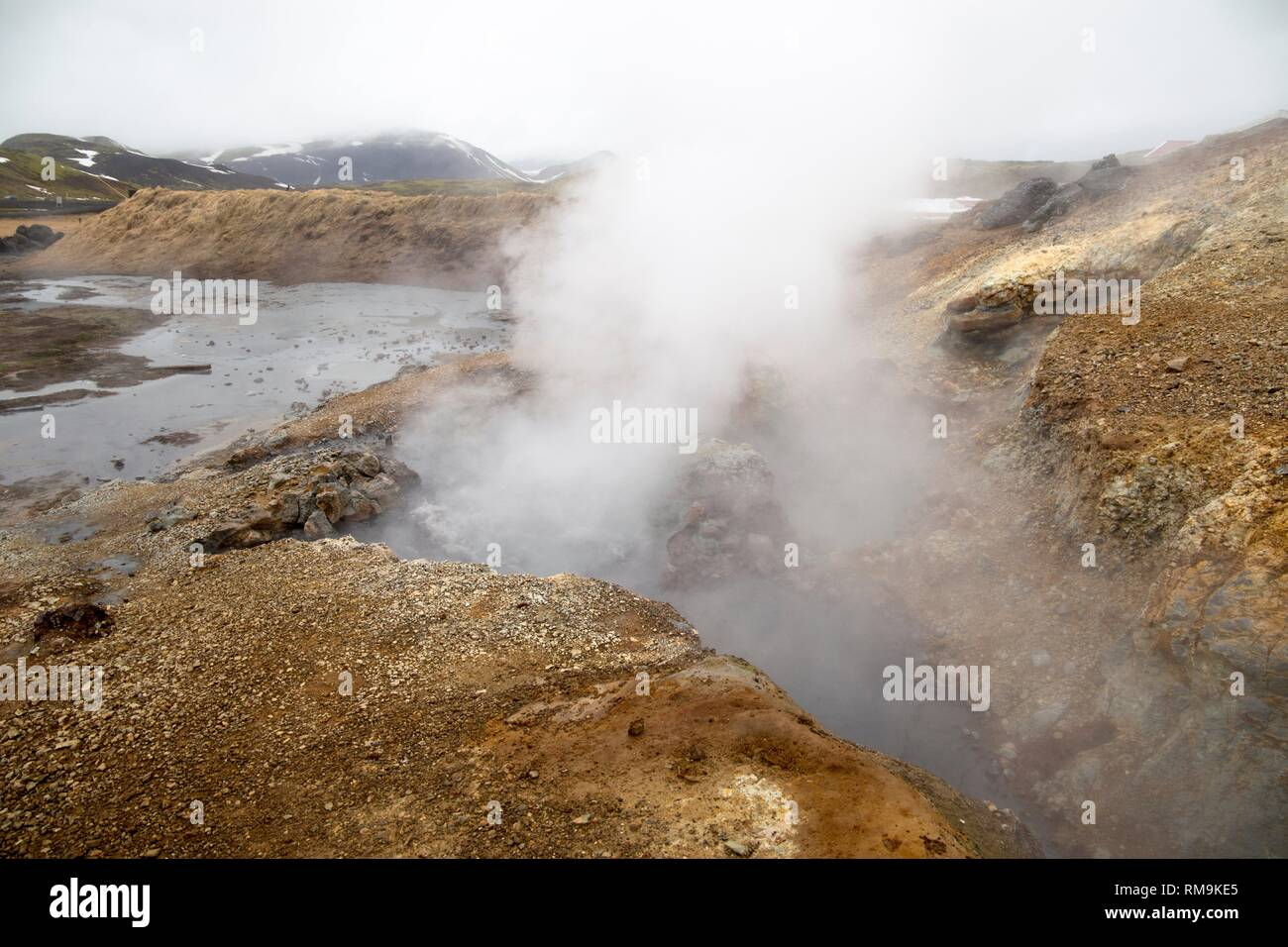Fumaroles near Reikjiavik in Iceland. - Stock Image