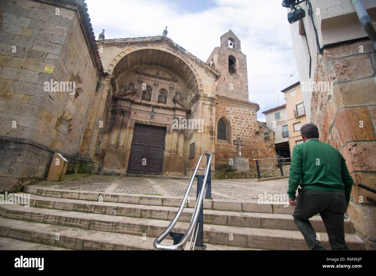 Poza de la Sal is an ancient village in Burgos province, Castile and Leon, Spain. St Cosme and Damian church. - Stock Image