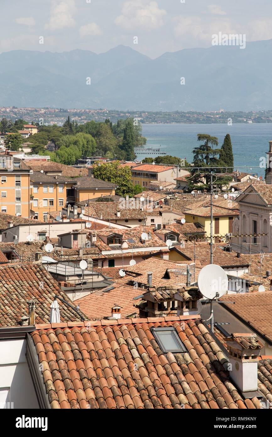 Beautiful aerial views of Desenzano del Garda, a town and comune in the province of Brescia, in Lombardy, Italy. Stock Photo