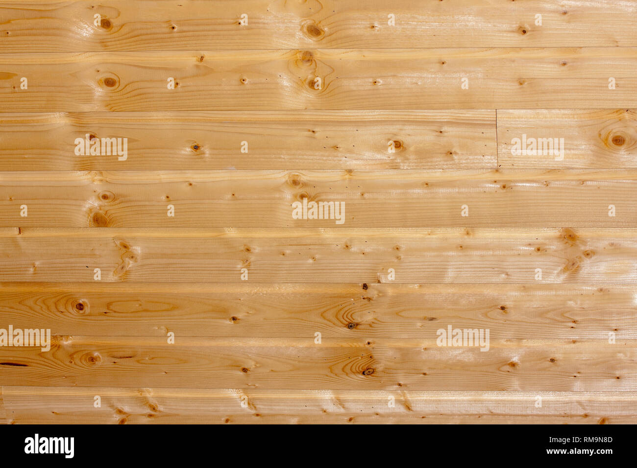 Pine wood planks with spots and patterns - Stock Image