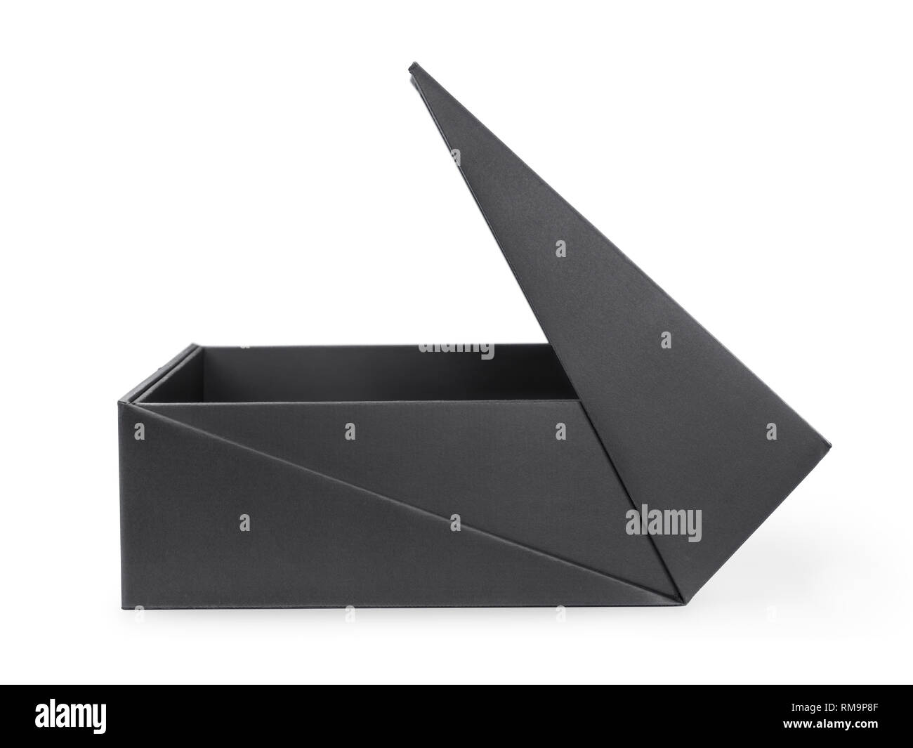 Open large black box side view. Isolated on white, clipping path included - Stock Image