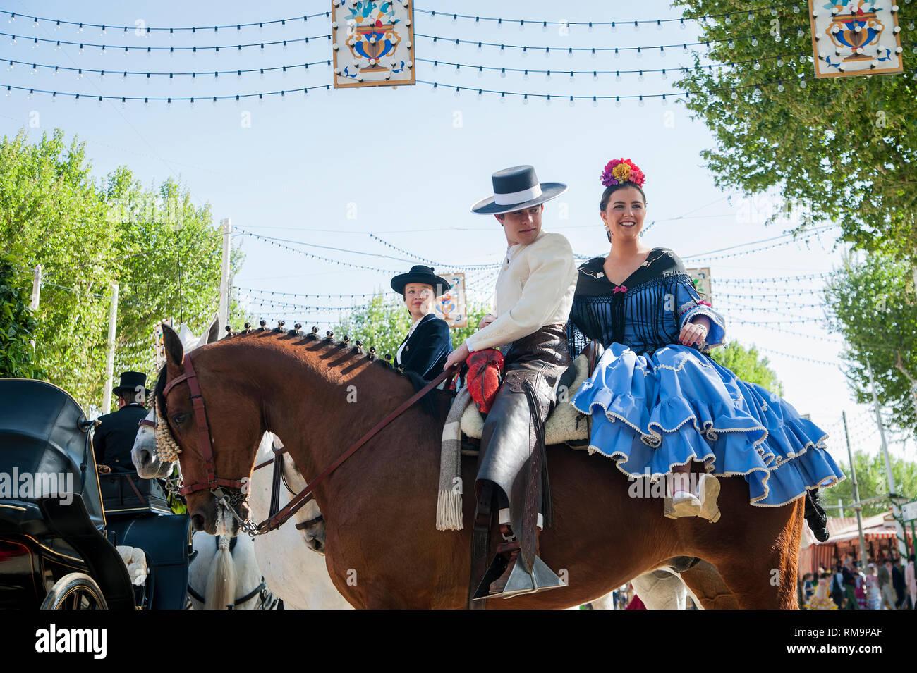 SPAIN, SEVILLE: The 'Feria de April', the April Fair, is Seville's most important festival besides the Semana Santa, the Easter week. A whole neighbou - Stock Image