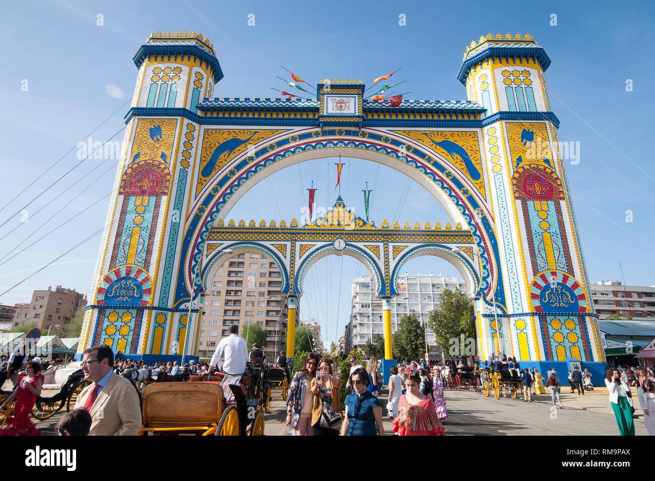 SPAIN, SEVILLE: The 'Feria de April', the April Fair, is Seville's most important festival besides the Semana Santa, the Easter week. A whole neighbou - Stock Image