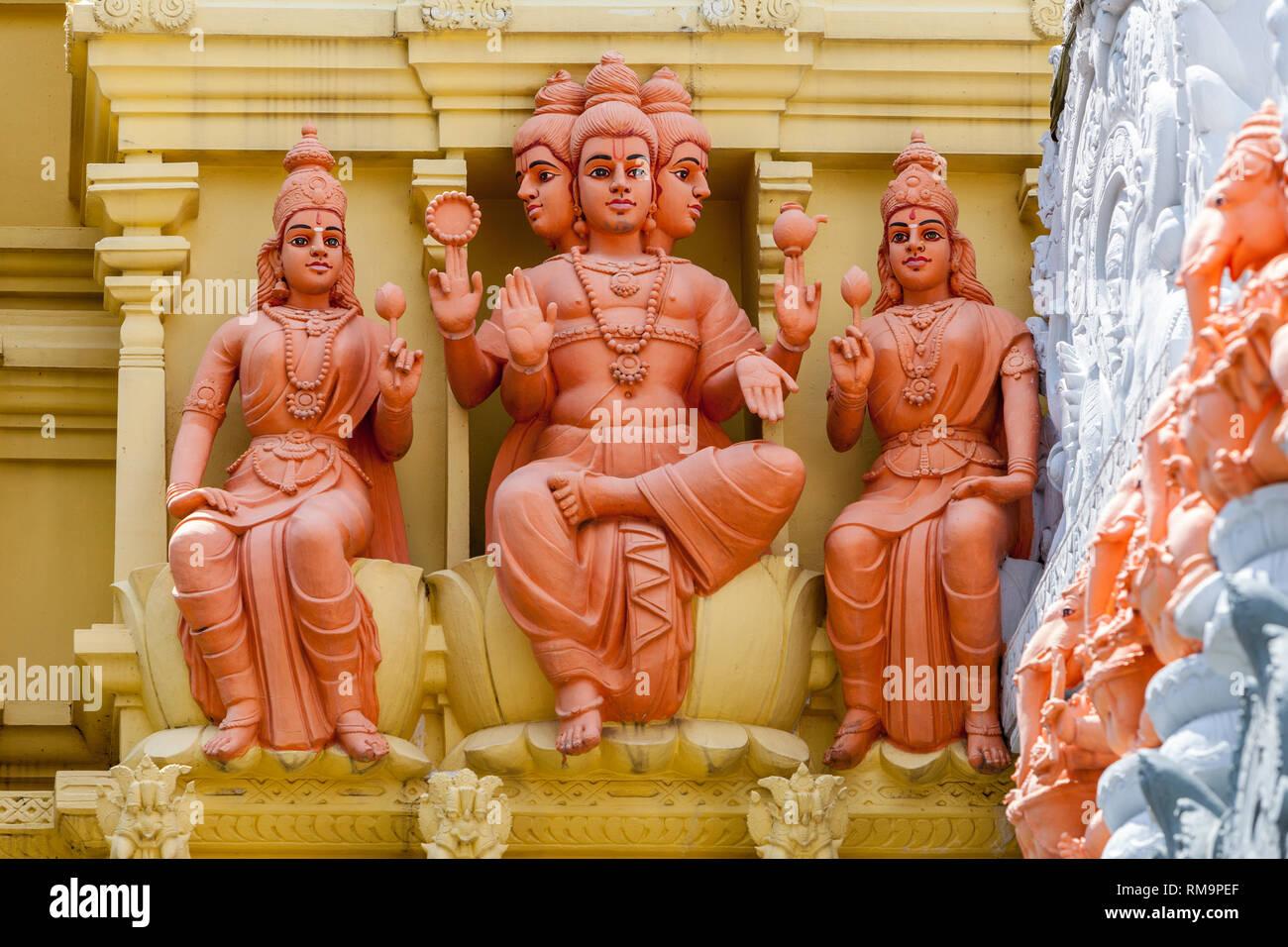 Hindu Deities outside Entrance to Sri Senpaga Vinayagar Hindu Ganesh Temple, Joo Chiat District, Singapore. - Stock Image