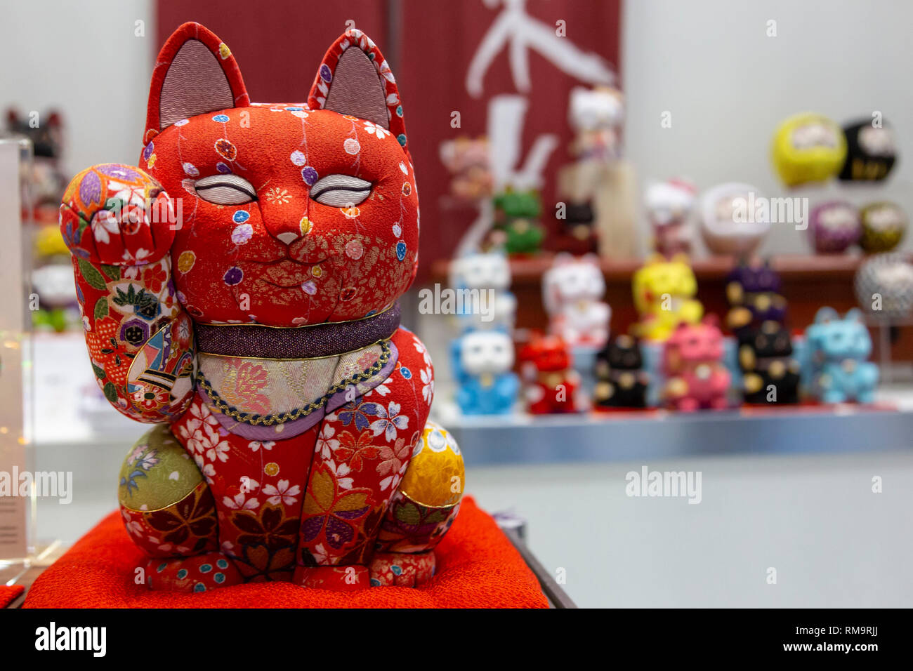 Traditional Japanese lucky cats on display during the 87th Tokyo
