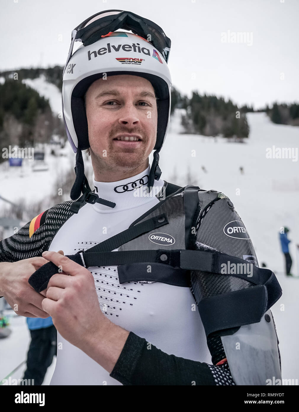 Are, Sweden. 14th Feb, 2019. Ski alpin, World Championship, Giant Slalom, Men: Stefan Luitz from Germany after the training for the Giant Slalom. Luitz has been wearing an orthosis on his left shoulder since a shoulder injury. Credit: Michael Kappeler/dpa/Alamy Live News - Stock Image