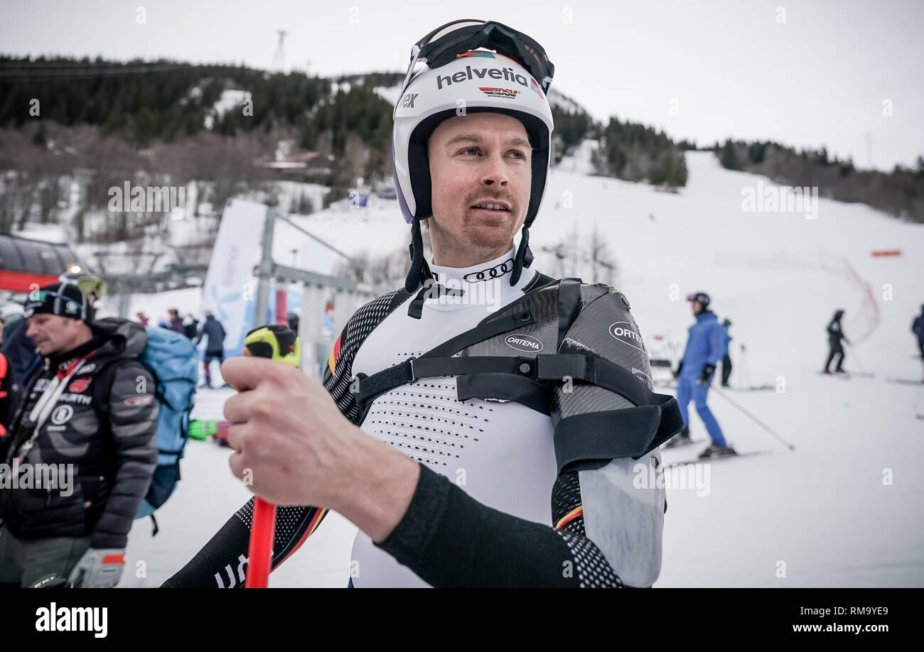 Are, Sweden. 14th Feb, 2019. Alpine skiing, world championship, giant slalom, men: Stefan Luitz from Germany after the training for the giant slalom. Luitz has been wearing an orthosis on his left shoulder since a shoulder injury. Credit: Michael Kappeler/dpa/Alamy Live News - Stock Image