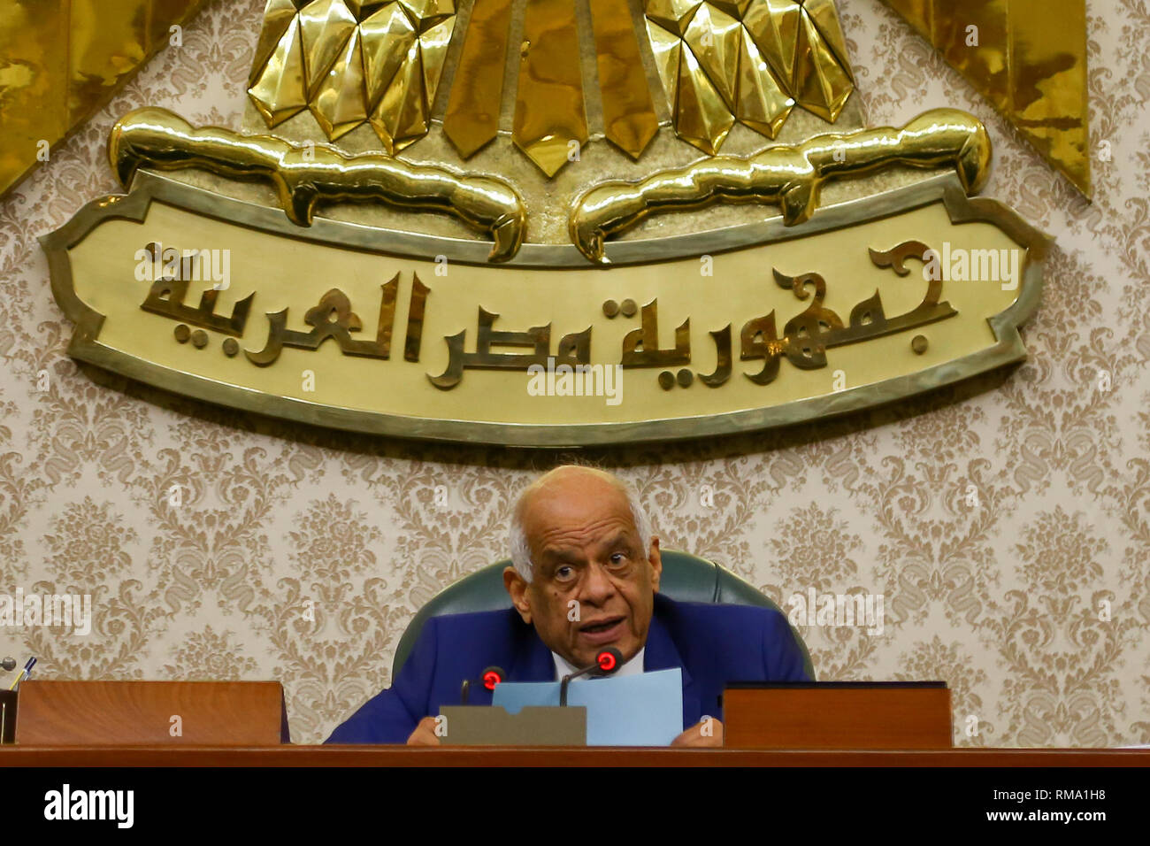 14 February 2019, Egypt, Cairo: Egypt's Parliament Speaker Ali Abdel Aal announces the results of the voting of the Parliament members on the proposed constitutional amendments that will increase the country's President term in office from four to six years after deliberations a day earlier. MPs voted in favour the initial approval of the proposed amendments which will now be referred to the Legislative and Constitutional Affairs Committee to be discussed in detail and to be finalized before being referred to the President to be put up for a public vote in a national referendum. Photo: Lobna T - Stock Image