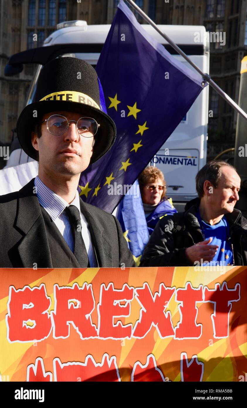 14th February, 2019. Jacob Rees Mogg look alike,Anti Brexit Pro EU Campaigners protested against Brexit.Houses of Parliament, London.UK Credit: michael melia/Alamy Live News - Stock Image