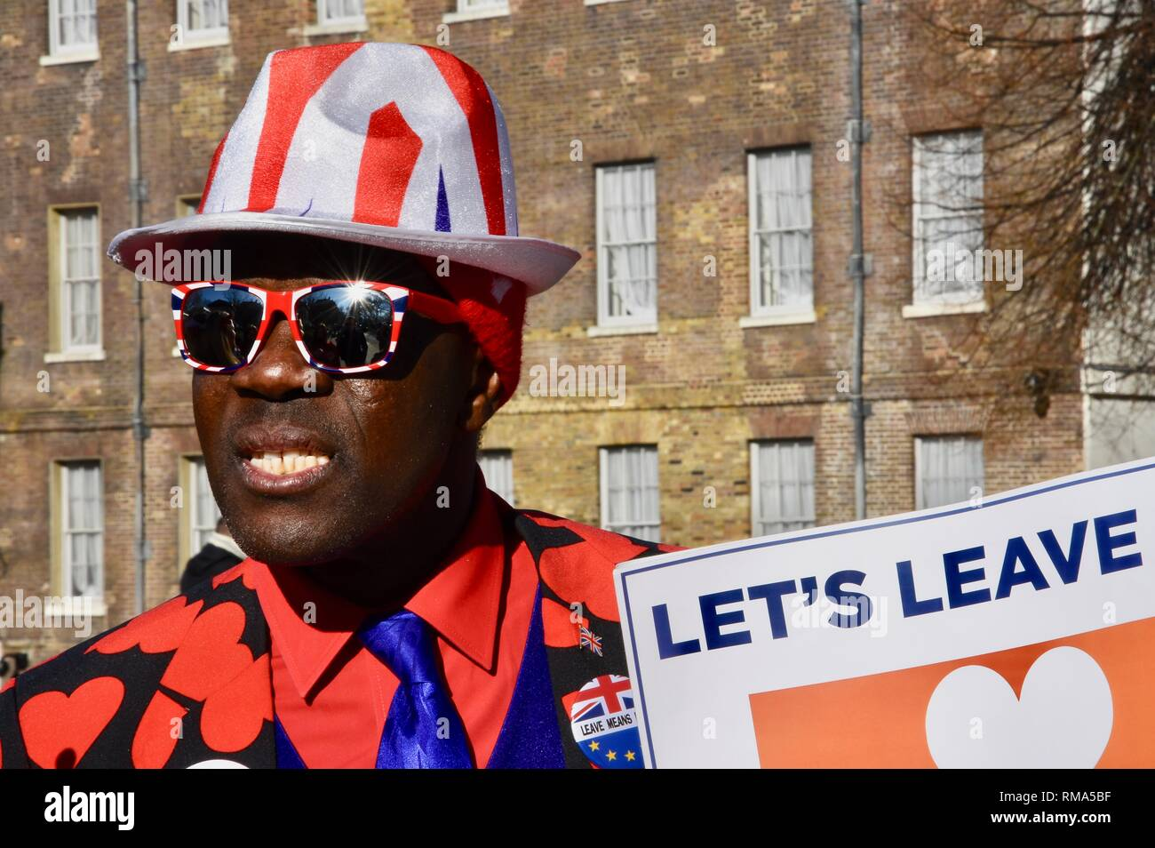 London, UK. 14th February, 2019. Brexiteer Valentine's Day Protester, Houses of Parliament, London.UK Credit: michael melia/Alamy Live News - Stock Image