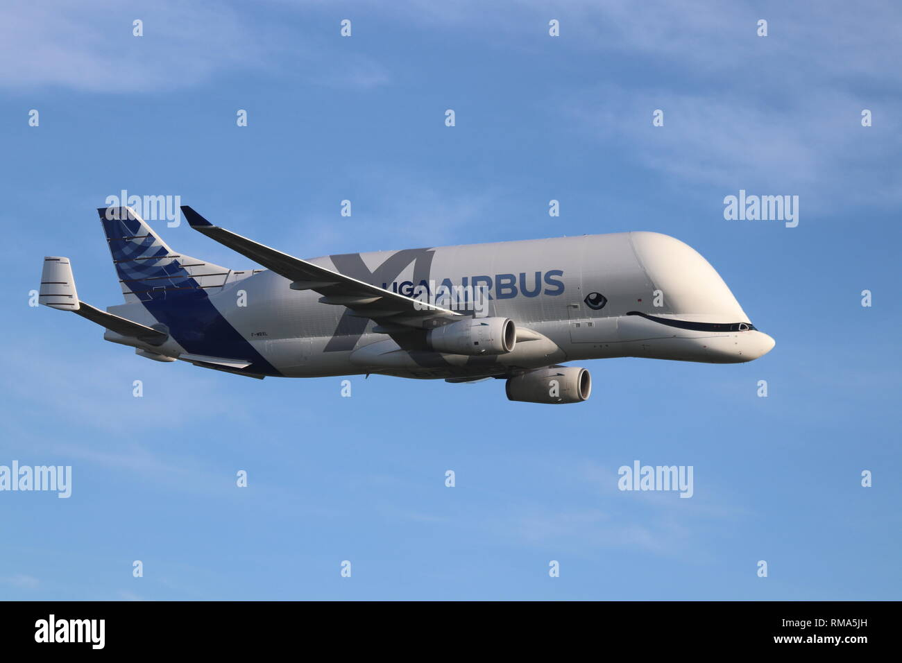 Airbus Beluga XL, Hawarden Airport, Deeside, Wales, UK Thursday 14 February 2019. The new airbus super-transporter Beluga XL lands at Hawarden airport North Wales for the first time. Credit: Mike Clarke/Alamy Live News Stock Photo