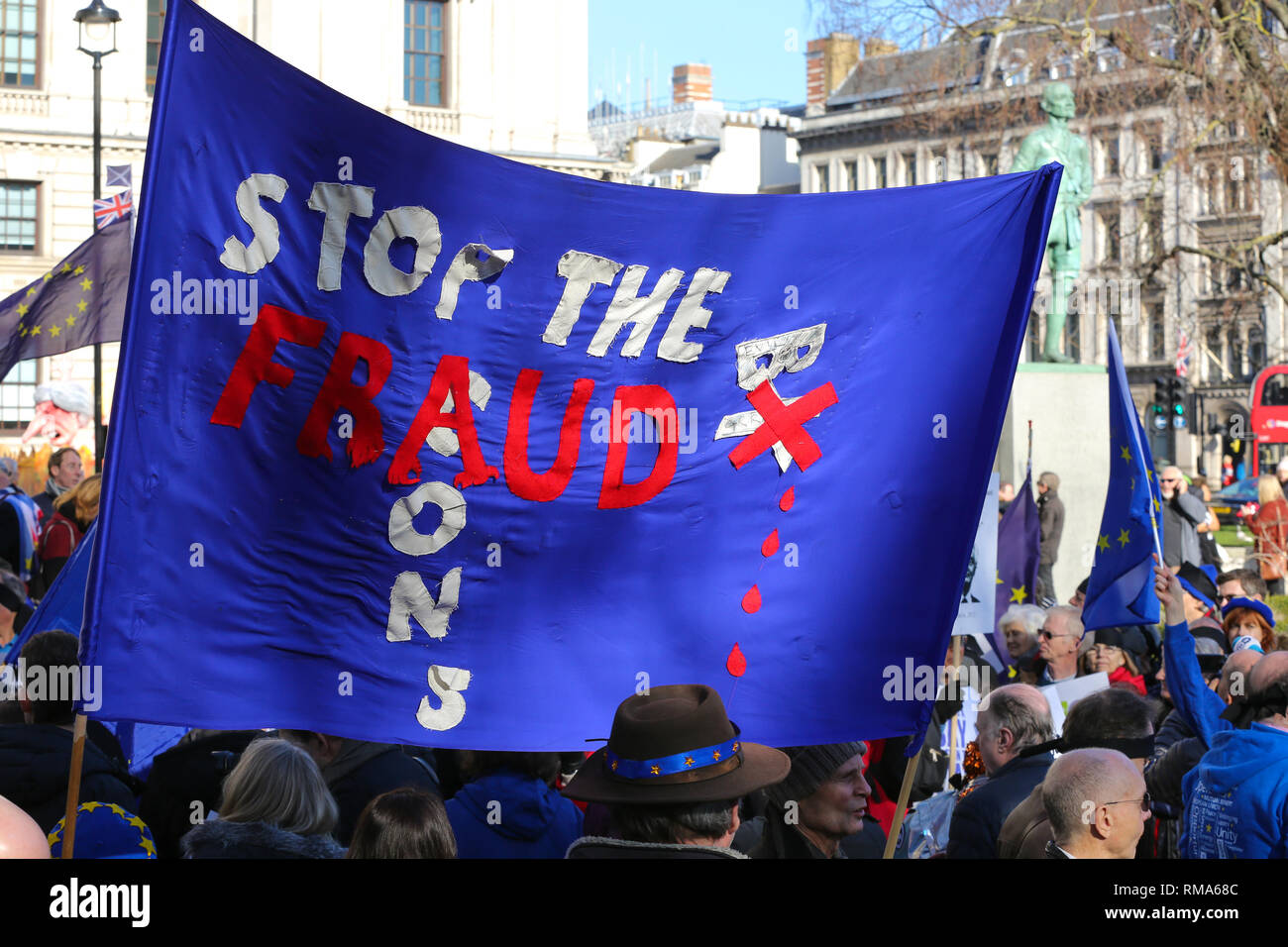 Its Not Just Demonstrators Saying >> London Uk 14th Feb 2019 A Banner Saying Stop The Fraud Seen