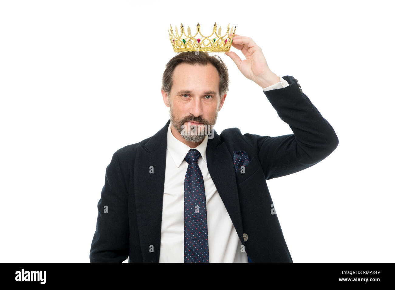 Man nature bearded guy in suit hold golden crown symbol of monarchy. Direct line to throne. Enormous privilege. Become king ceremony. King attribute. Become next king. Monarchy family traditions. - Stock Image