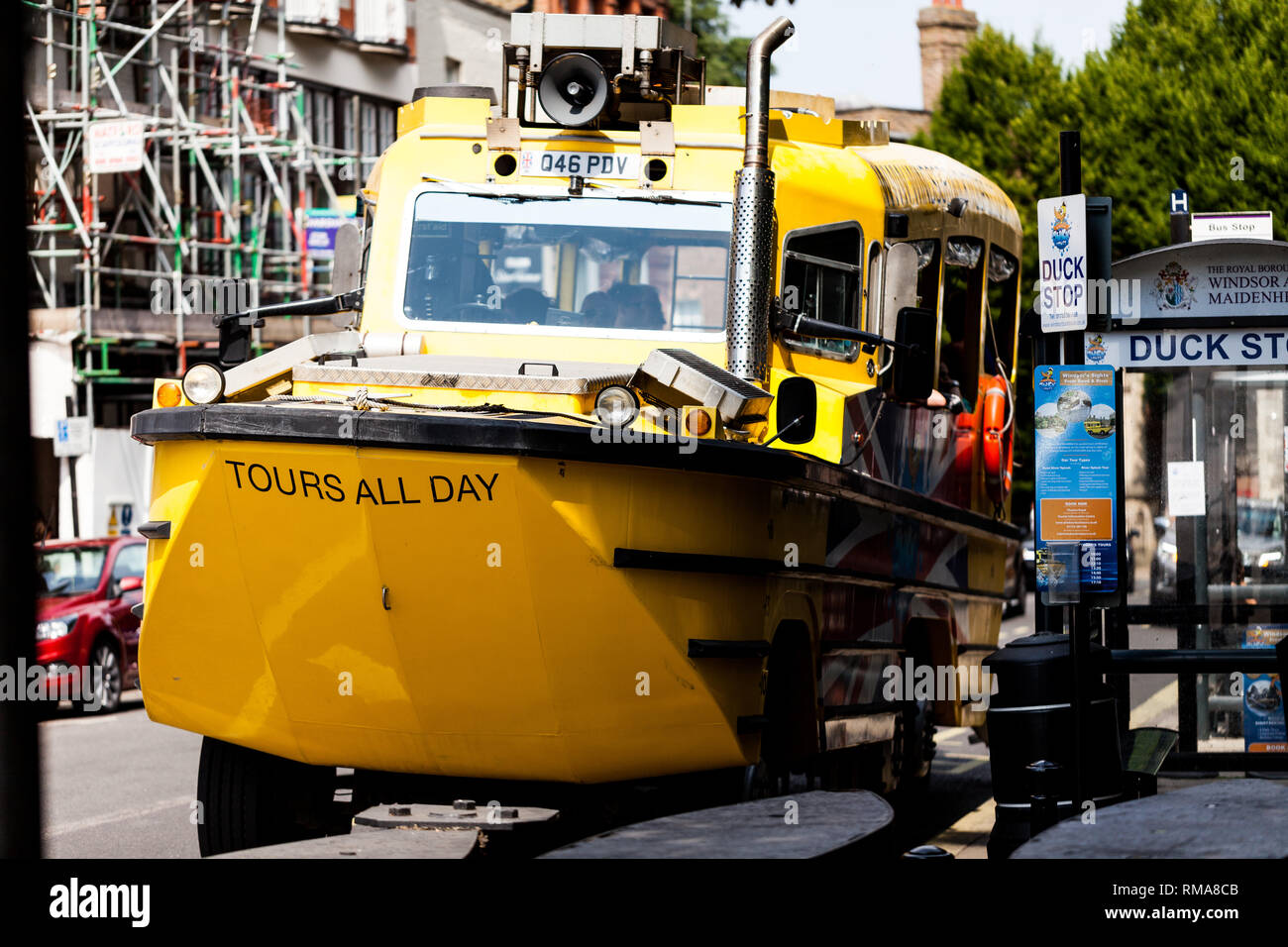 BIRMINGHAM, UK - March 2018 London Duck Tours Amphibious Vehicle use for Sightseeing on Land and Water. Yellow Transportation Parked on Windsor Roadsi - Stock Image