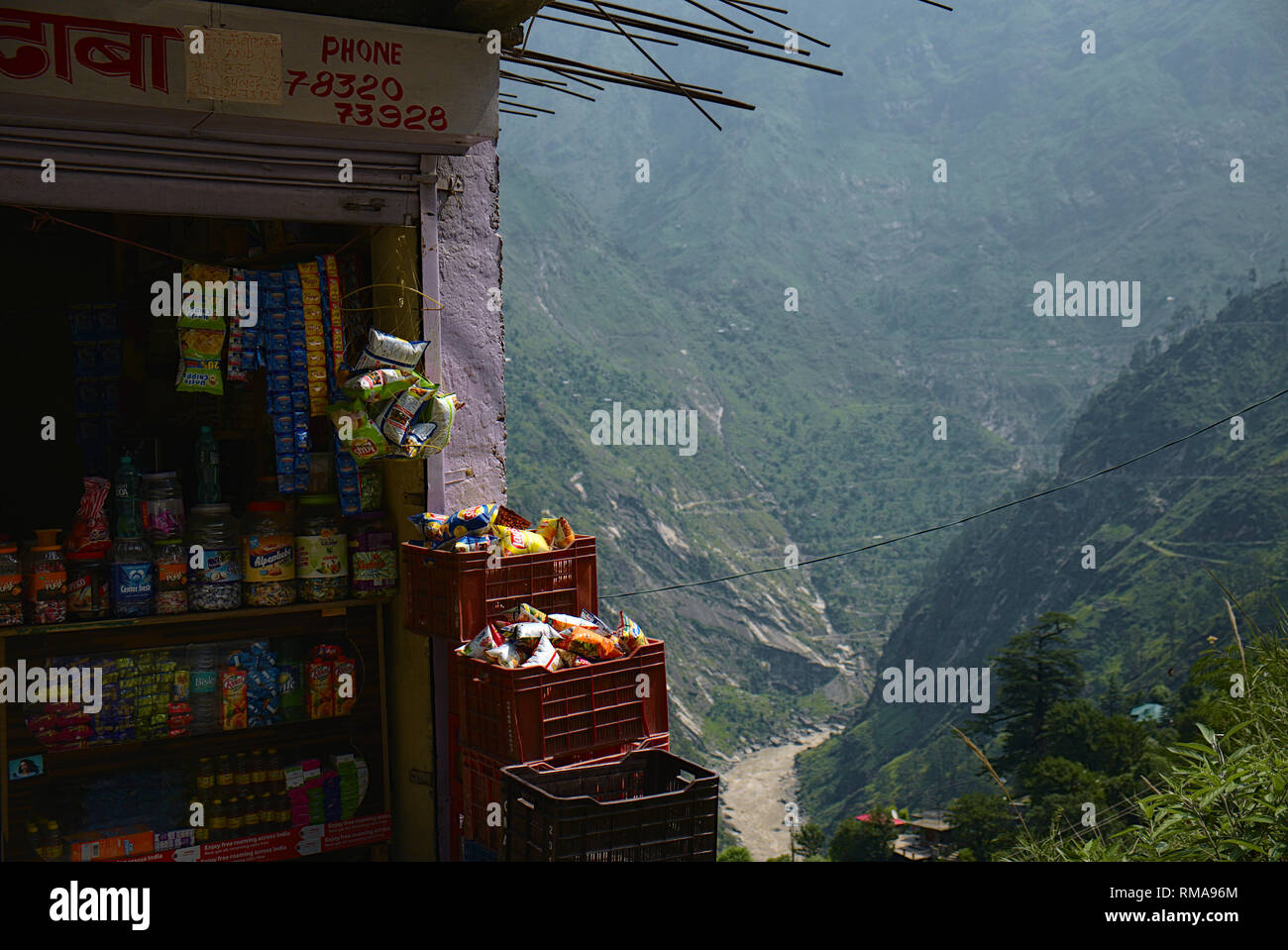 The formerly called Hindustan - Tibet road, going along the Sutlej river. - Stock Image