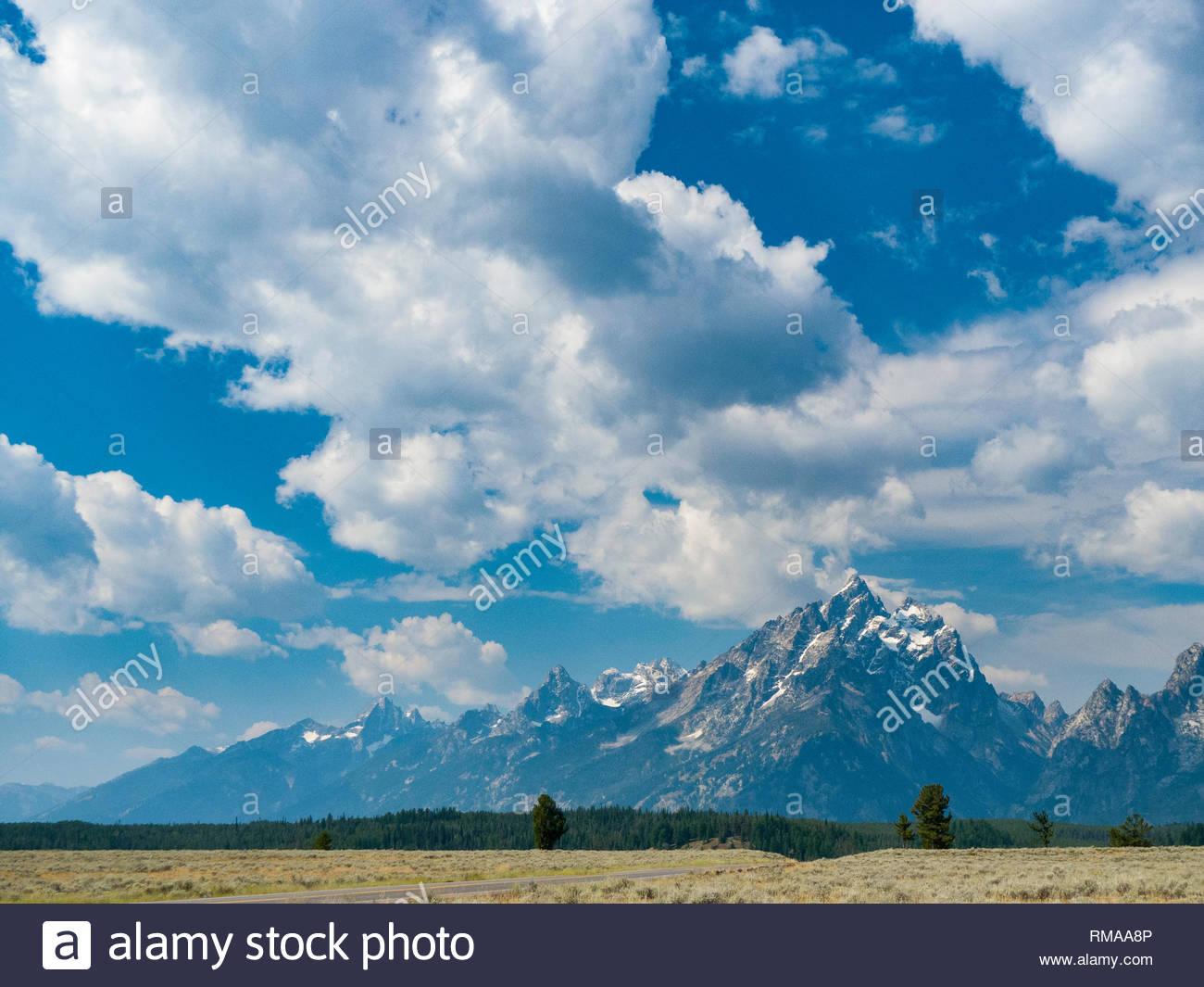 View of Grand Teton mountain peak from the Mount Moran Turnout, Grand Teton National Park, Teton County, Wyoming, USA - Stock Image