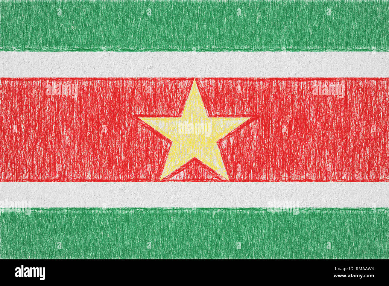 Suriname painted flag. Patriotic drawing on paper background. National flag of Suriname - Stock Image
