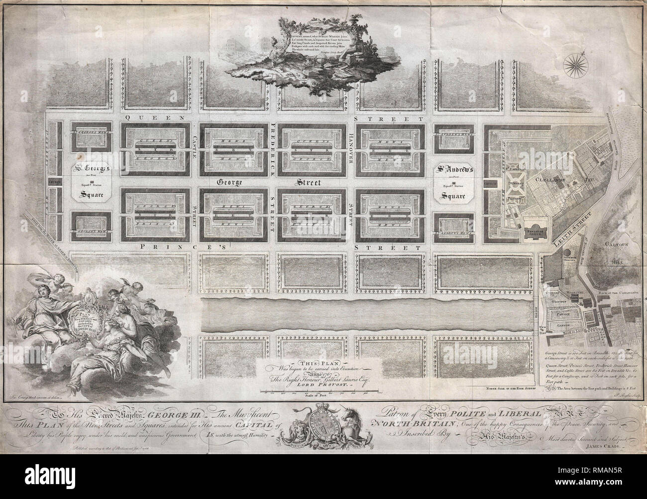 Plan of the New Streets and Squares intended for the city of Edinburgh. 1768 - Stock Image