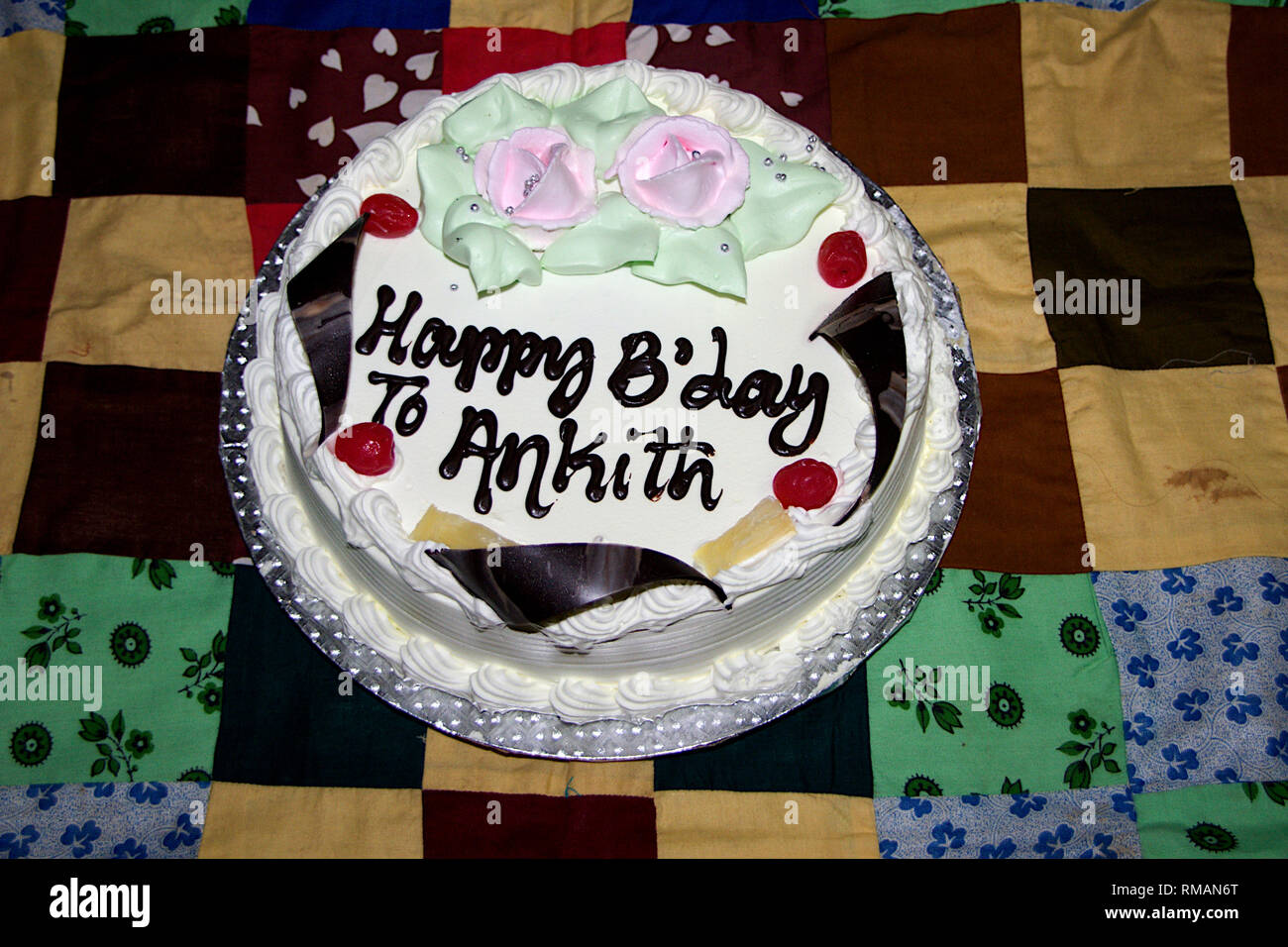 Excellent Decorated Mouthwatering Creamy Cake With Birthday Message Placed Funny Birthday Cards Online Eattedamsfinfo