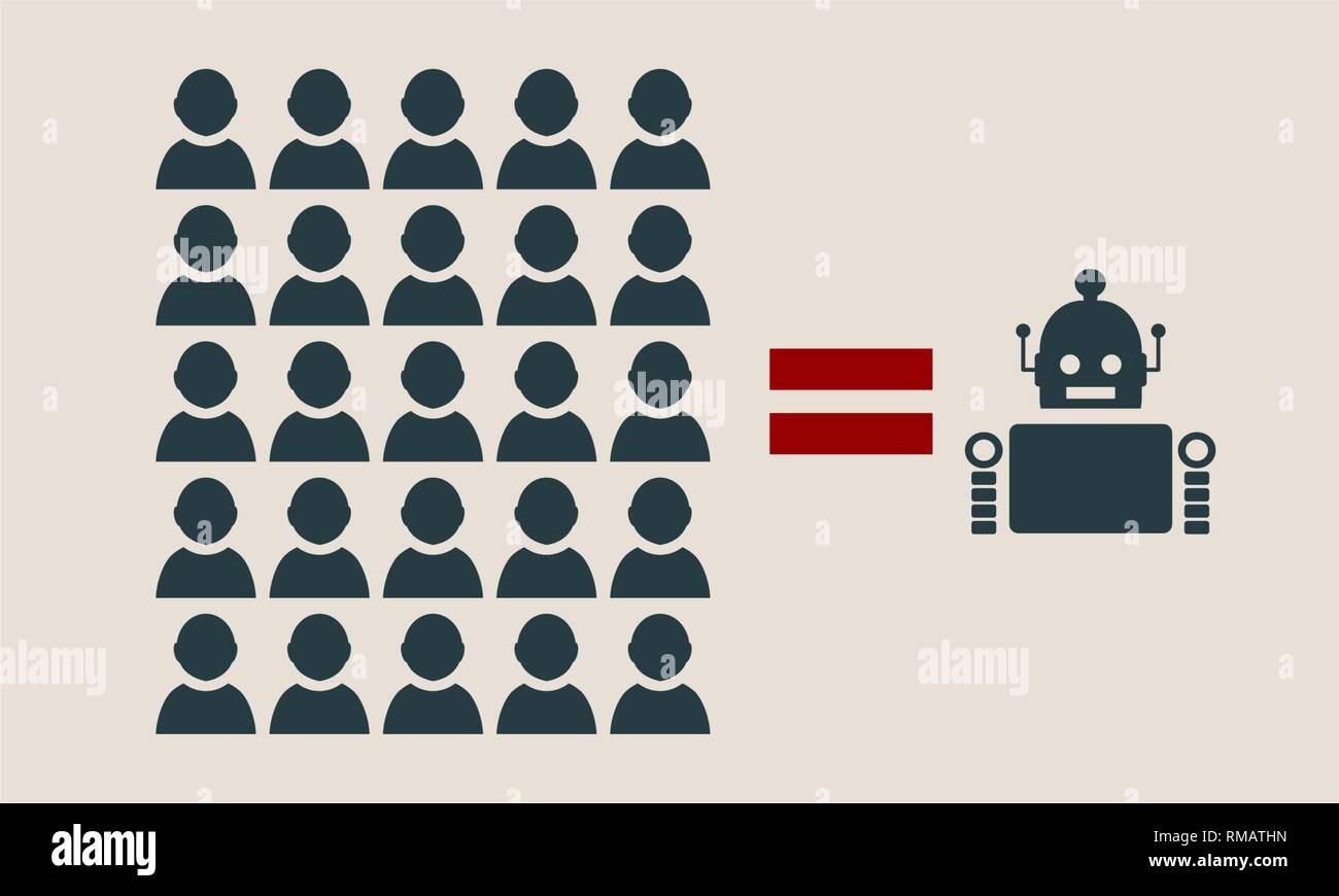 Humans vs Robots. - Stock Vector