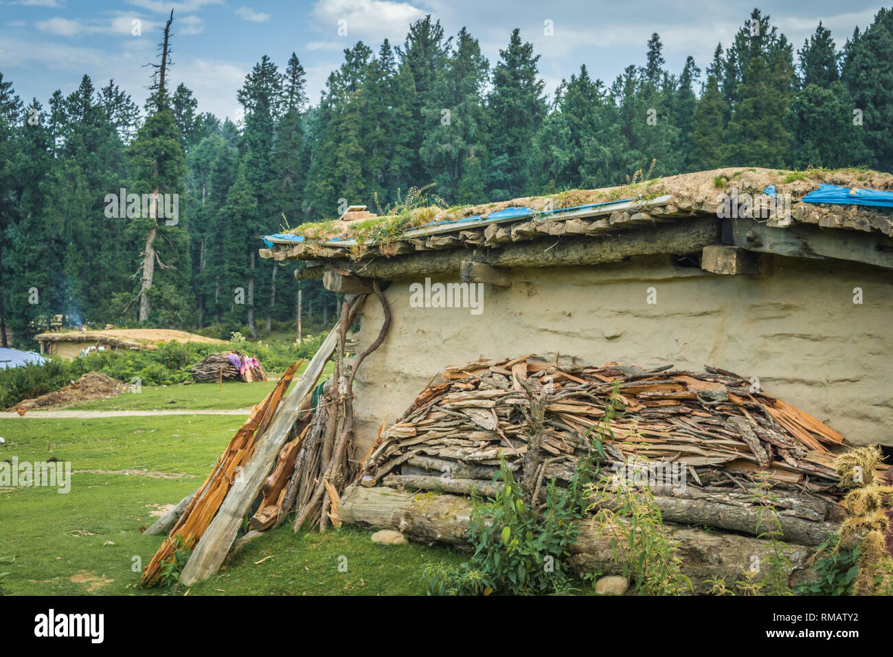 A pile of firewood outside a cabin house in a meadow in Kashmir, India. - Stock Image