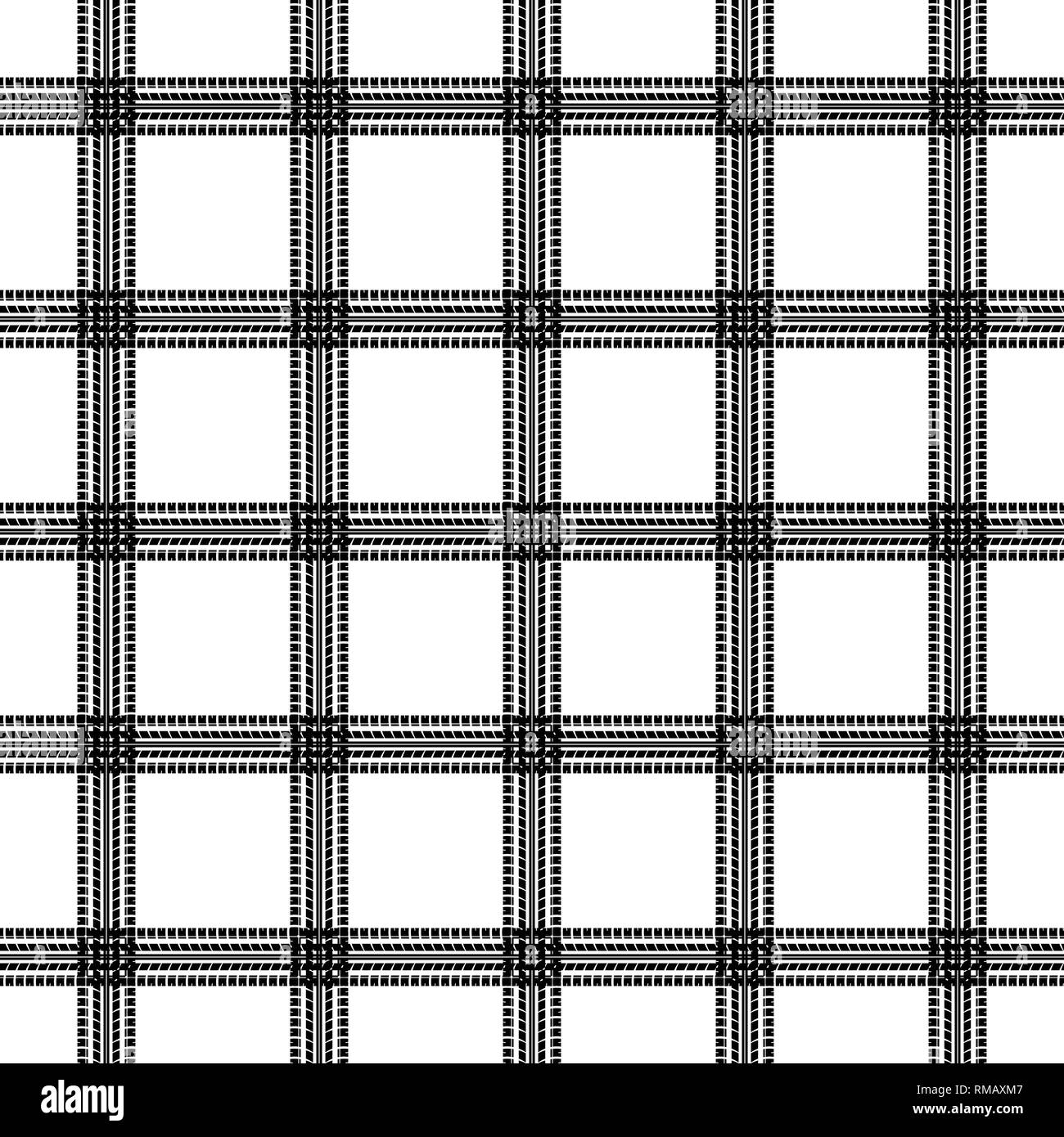 Black seamless horizontal and vertical tire tracks grid isolated on white background - Stock Vector