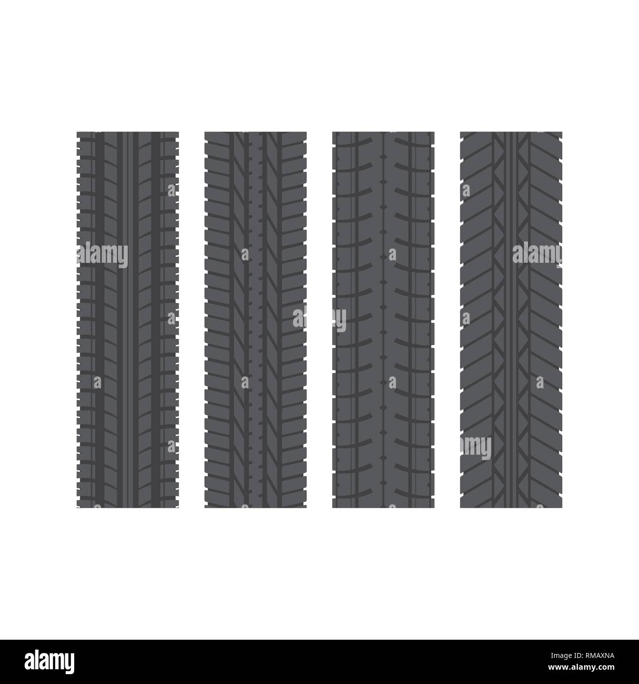 Set of four black tire track silhouettes isolated on white background - Stock Vector