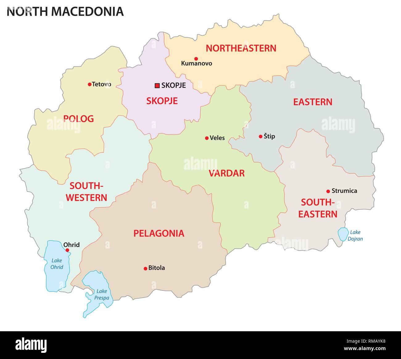 north macedonia administrative and political vector map - Stock Image
